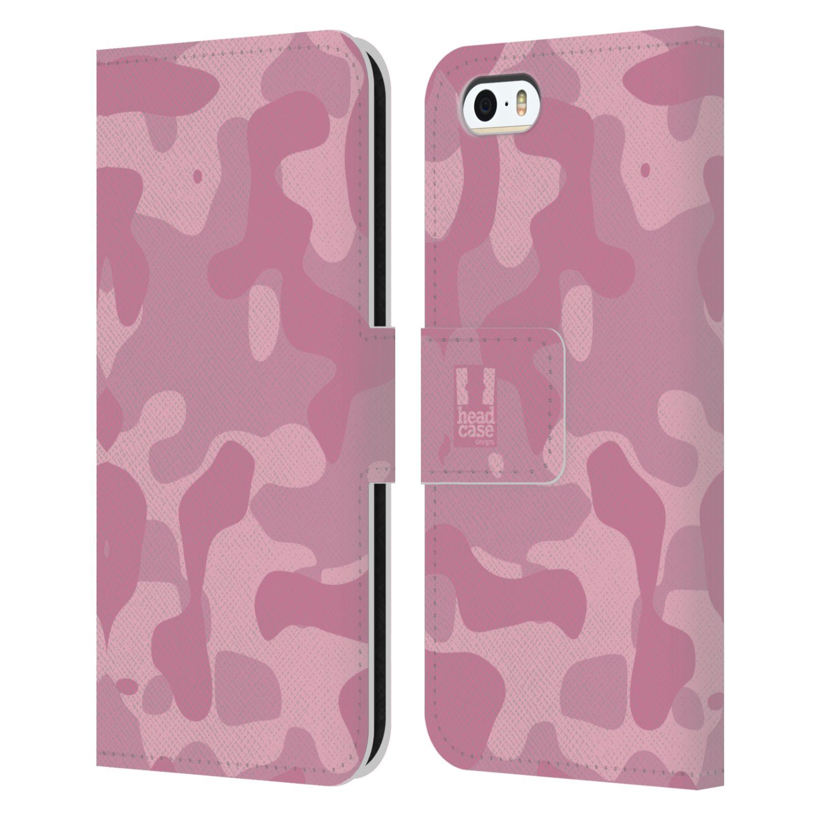 HEAD CASE Flipové pouzdro pro mobil Apple Iphone 5/5s lehká barevná kamufláž růžová