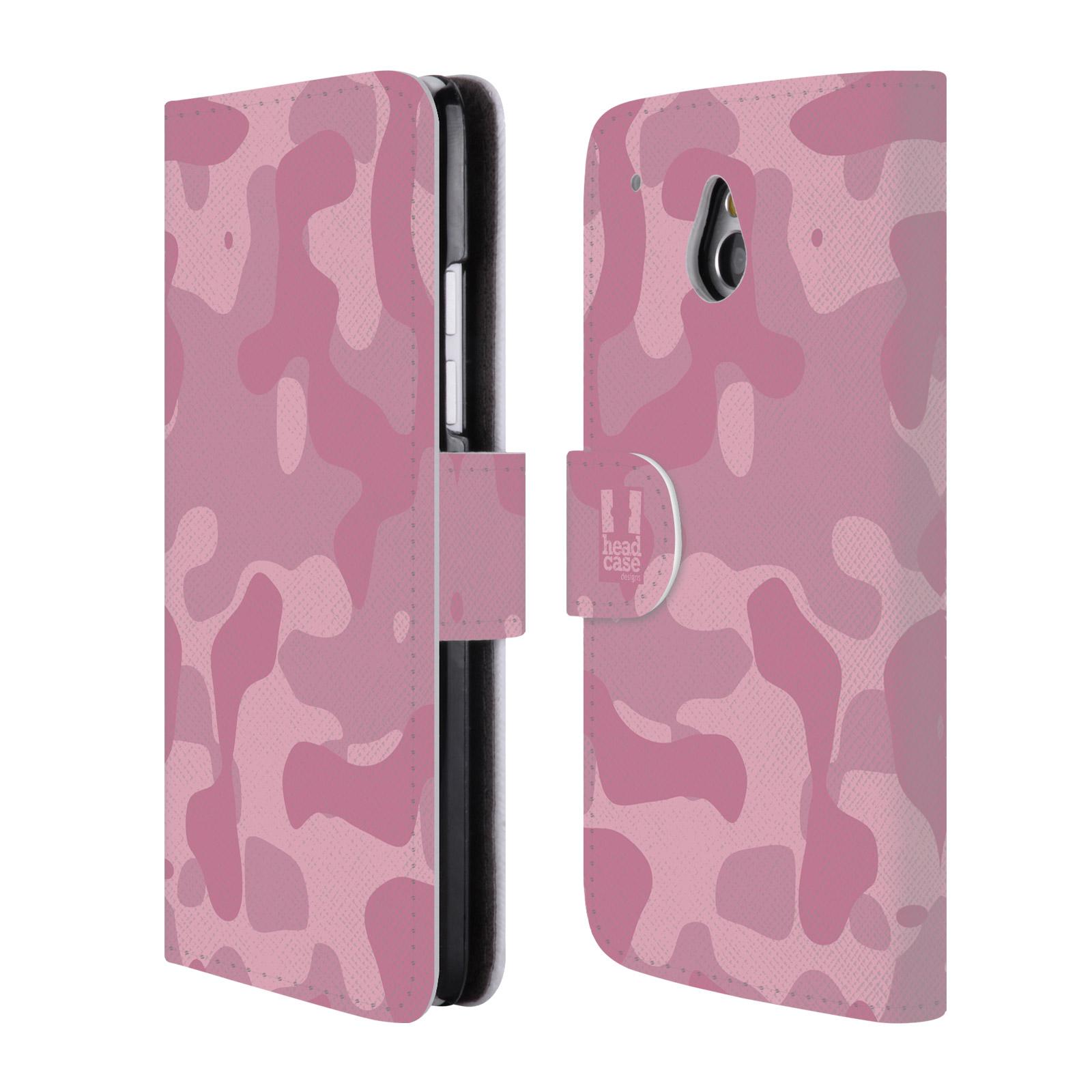 HEAD CASE Flipové pouzdro pro mobil HTC ONE MINI (M4) lehká barevná kamufláž růžová