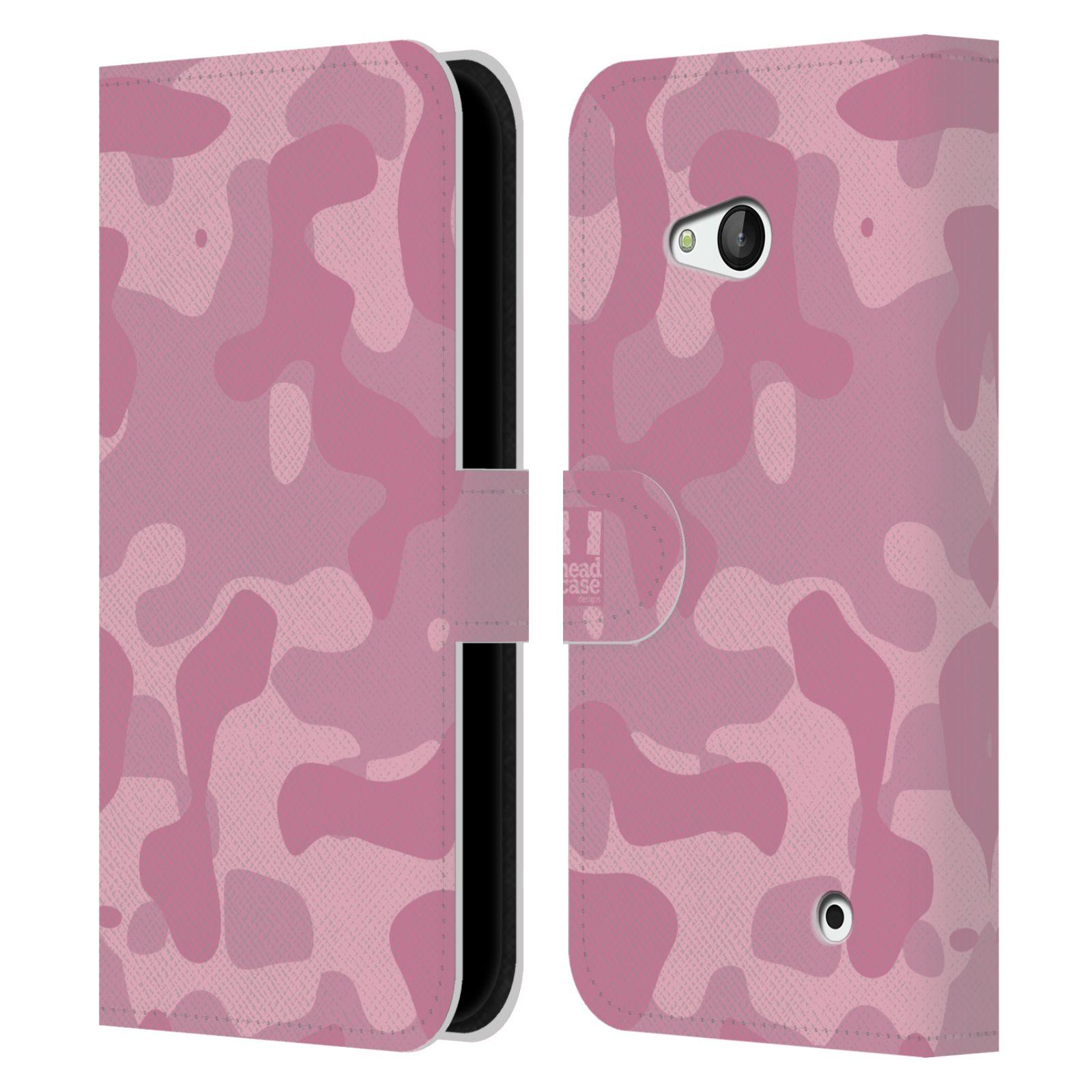 HEAD CASE Flipové pouzdro pro mobil NOKIA / MICROSOFT LUMIA 640 / LUMIA 640 DUAL lehká barevná kamufláž růžová