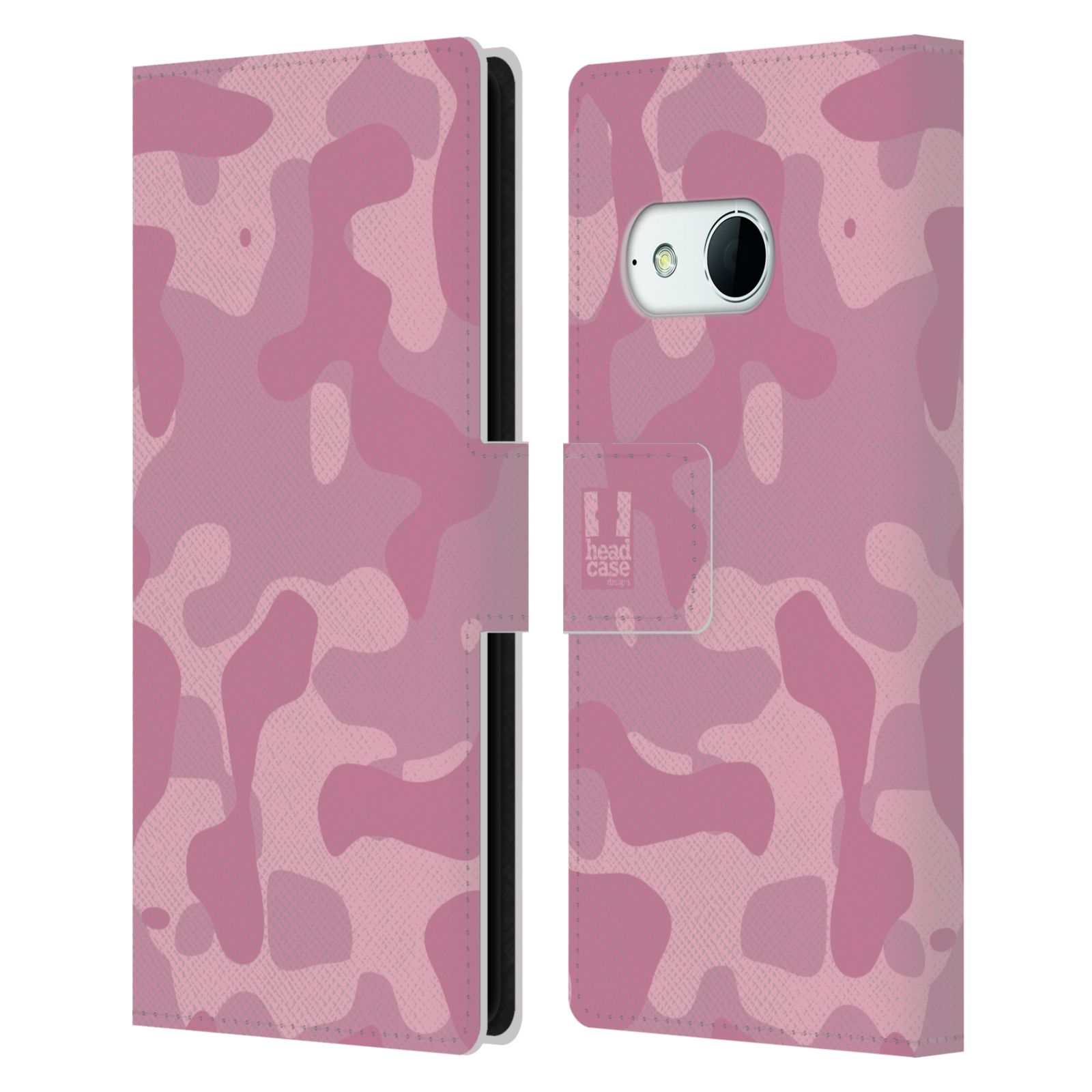 HEAD CASE Flipové pouzdro pro mobil HTC ONE MINI 2 (M8) lehká barevná kamufláž růžová
