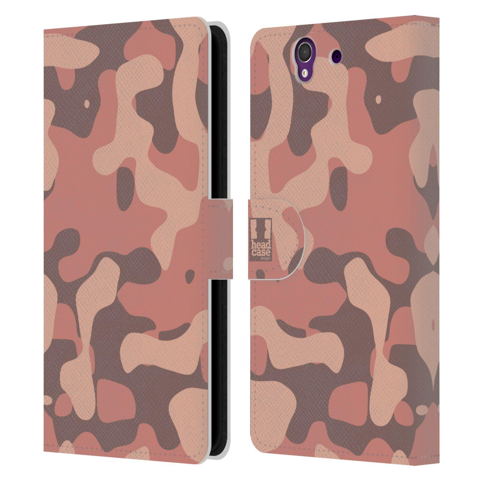 HEAD CASE Flipové pouzdro pro mobil SONY XPERIA Z (C6603) lehká barevná kamufláž růžová, losos
