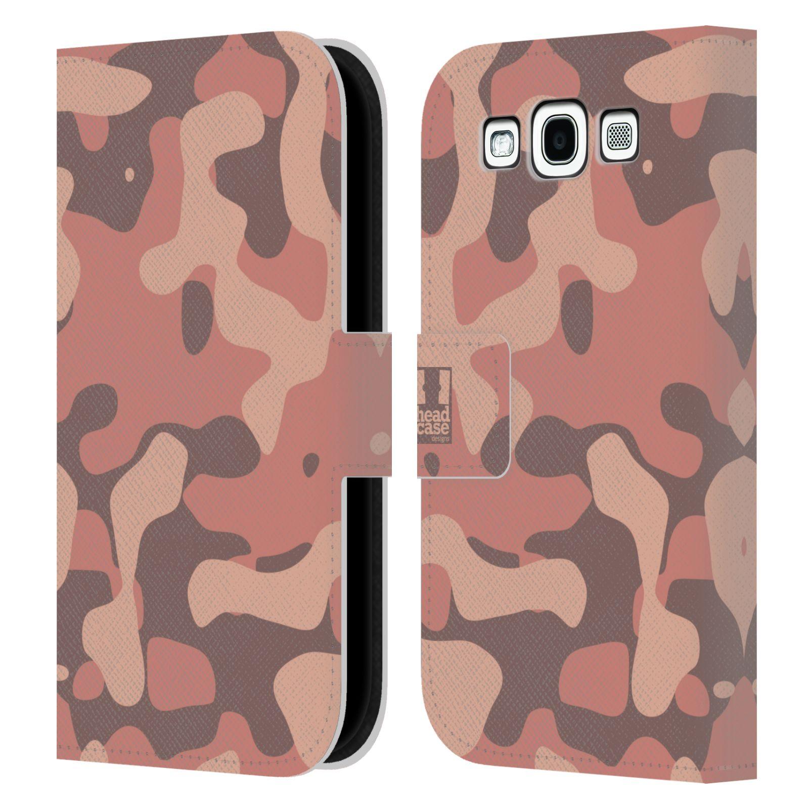 HEAD CASE Flipové pouzdro pro mobil Samsung Galaxy S3 lehká barevná kamufláž růžová, losos