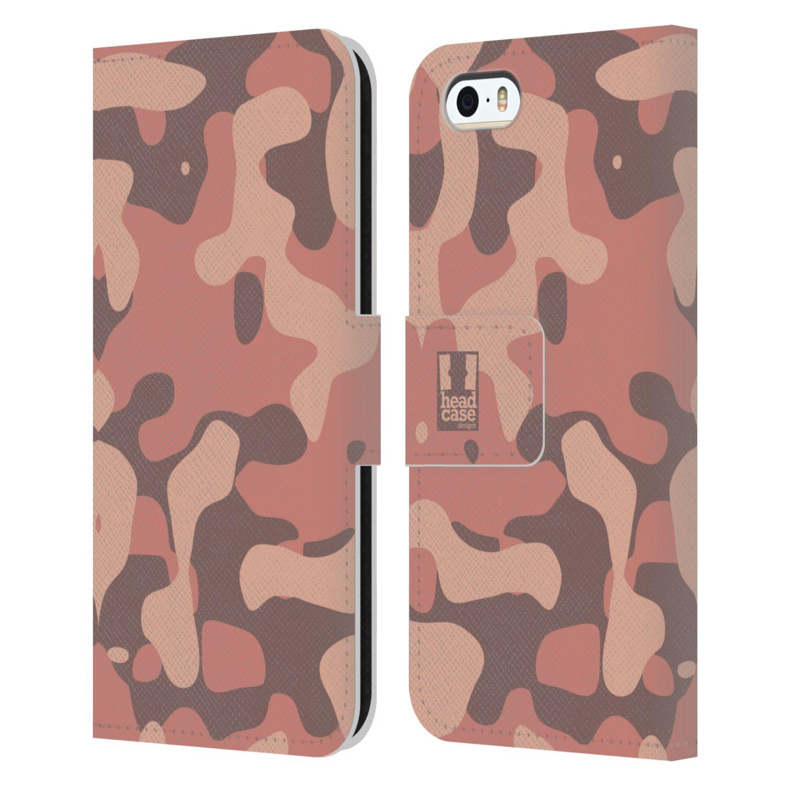 HEAD CASE Flipové pouzdro pro mobil Apple Iphone 5/5s lehká barevná kamufláž růžová, losos