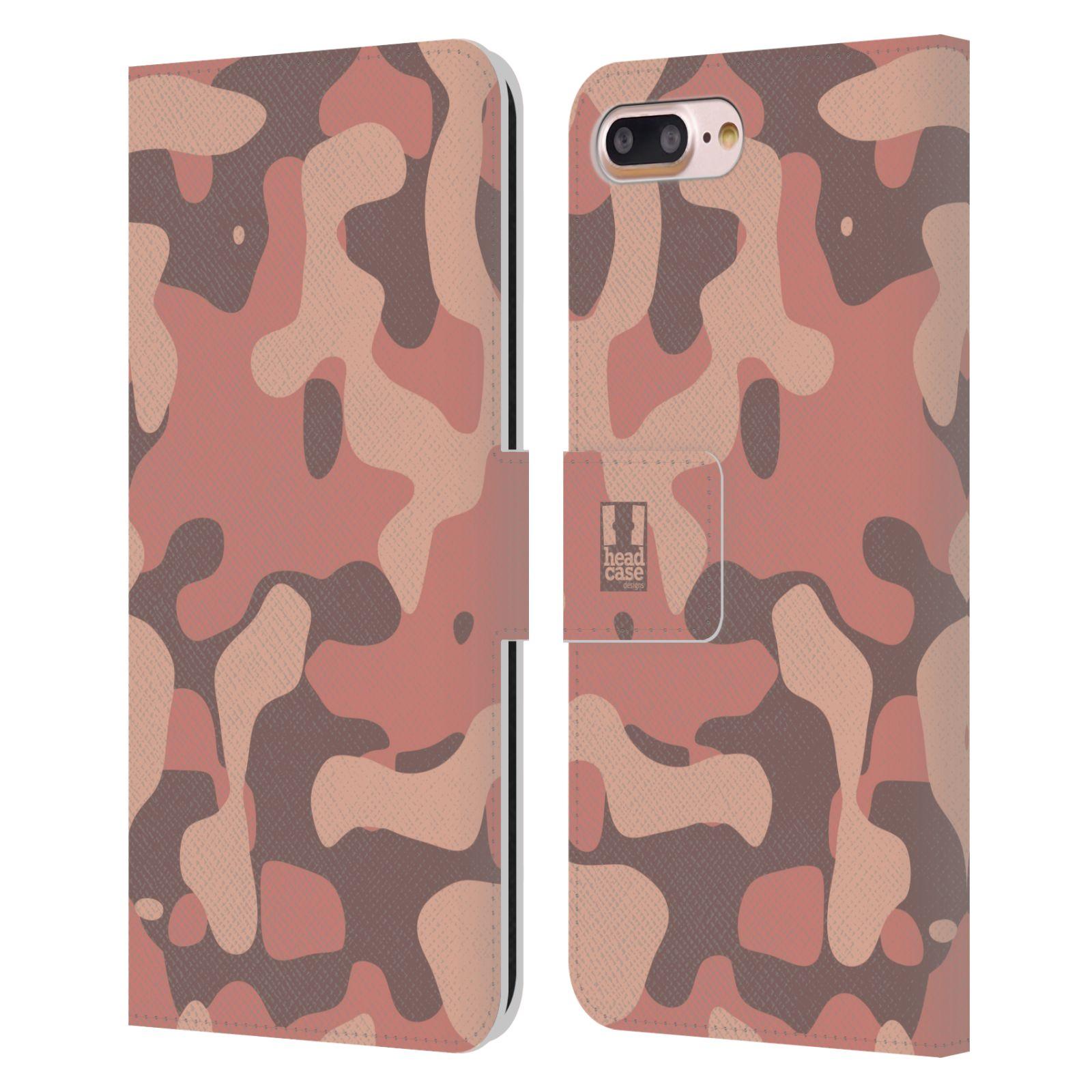HEAD CASE Flipové pouzdro pro mobil Apple Iphone 7 PLUS / 8 PLUS lehká barevná kamufláž růžová, losos