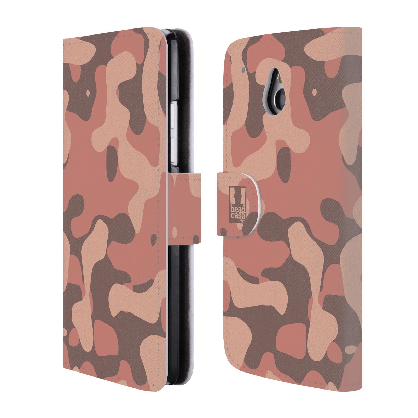 HEAD CASE Flipové pouzdro pro mobil HTC ONE MINI (M4) lehká barevná kamufláž růžová, losos