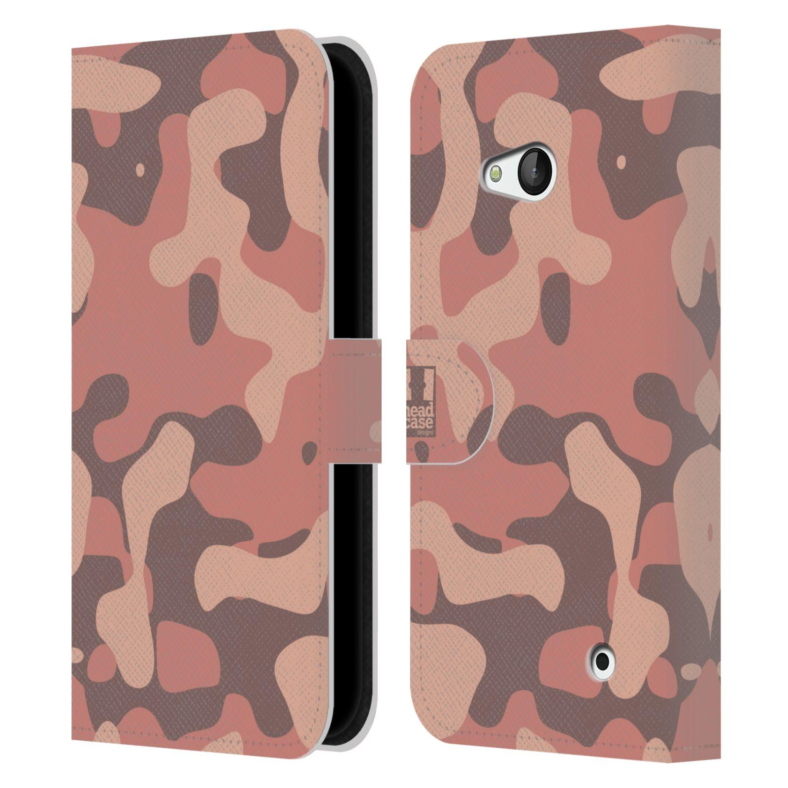 HEAD CASE Flipové pouzdro pro mobil NOKIA / MICROSOFT LUMIA 640 / LUMIA 640 DUAL lehká barevná kamufláž růžová, losos