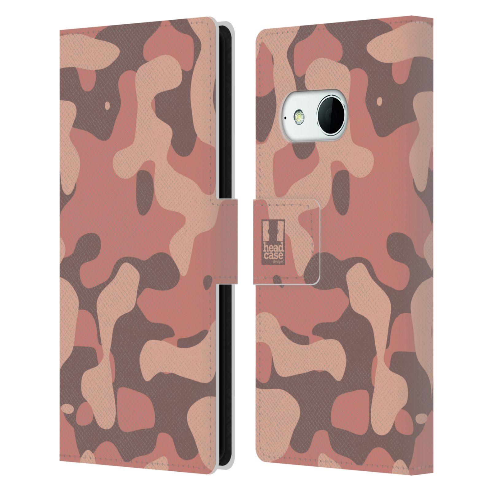 HEAD CASE Flipové pouzdro pro mobil HTC ONE MINI 2 (M8) lehká barevná kamufláž růžová, losos