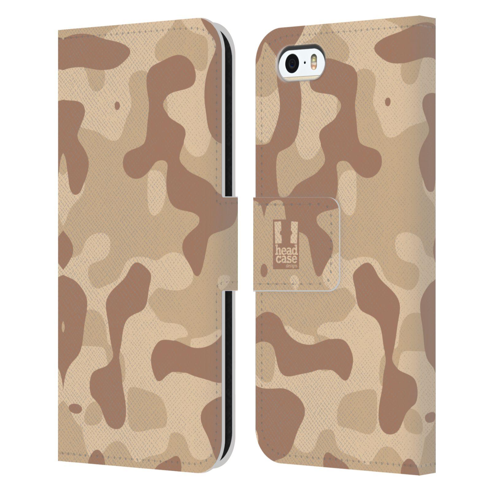 HEAD CASE Flipové pouzdro pro mobil Apple Iphone 5/5s lehká barevná kamufláž poušť