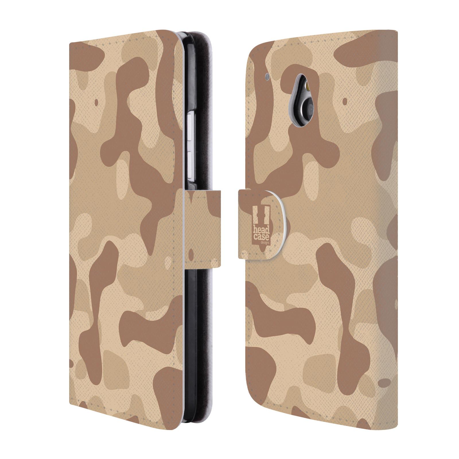 HEAD CASE Flipové pouzdro pro mobil HTC ONE MINI (M4) lehká barevná kamufláž poušť