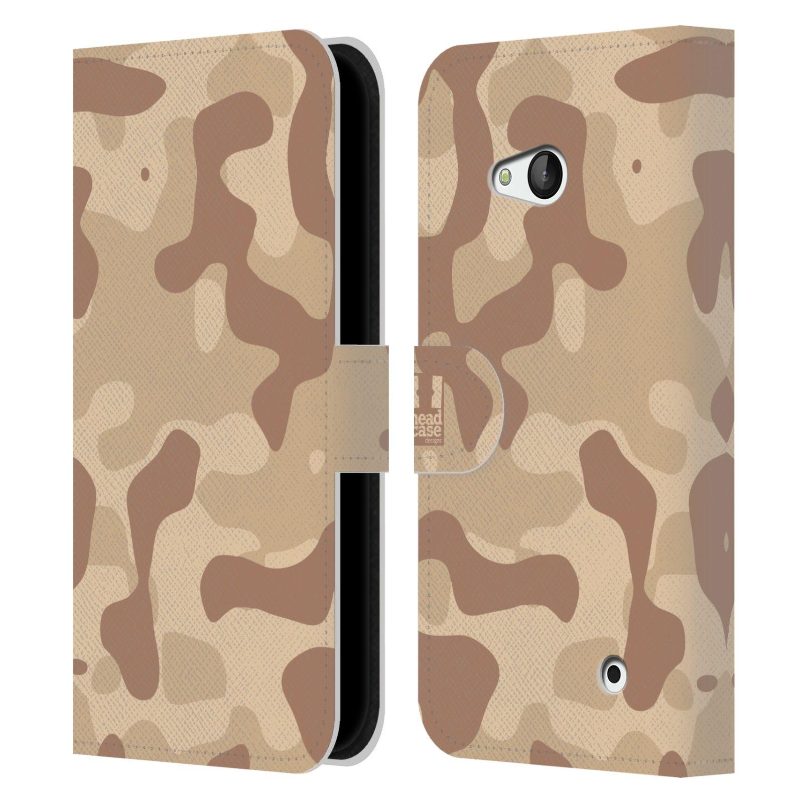 HEAD CASE Flipové pouzdro pro mobil NOKIA / MICROSOFT LUMIA 640 / LUMIA 640 DUAL lehká barevná kamufláž poušť