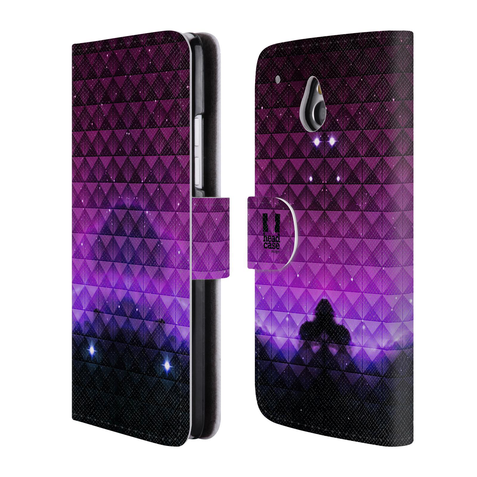 HEAD CASE Flipové pouzdro pro mobil HTC ONE MINI (M4) barevná vesmírná mlhovina fialová a černá
