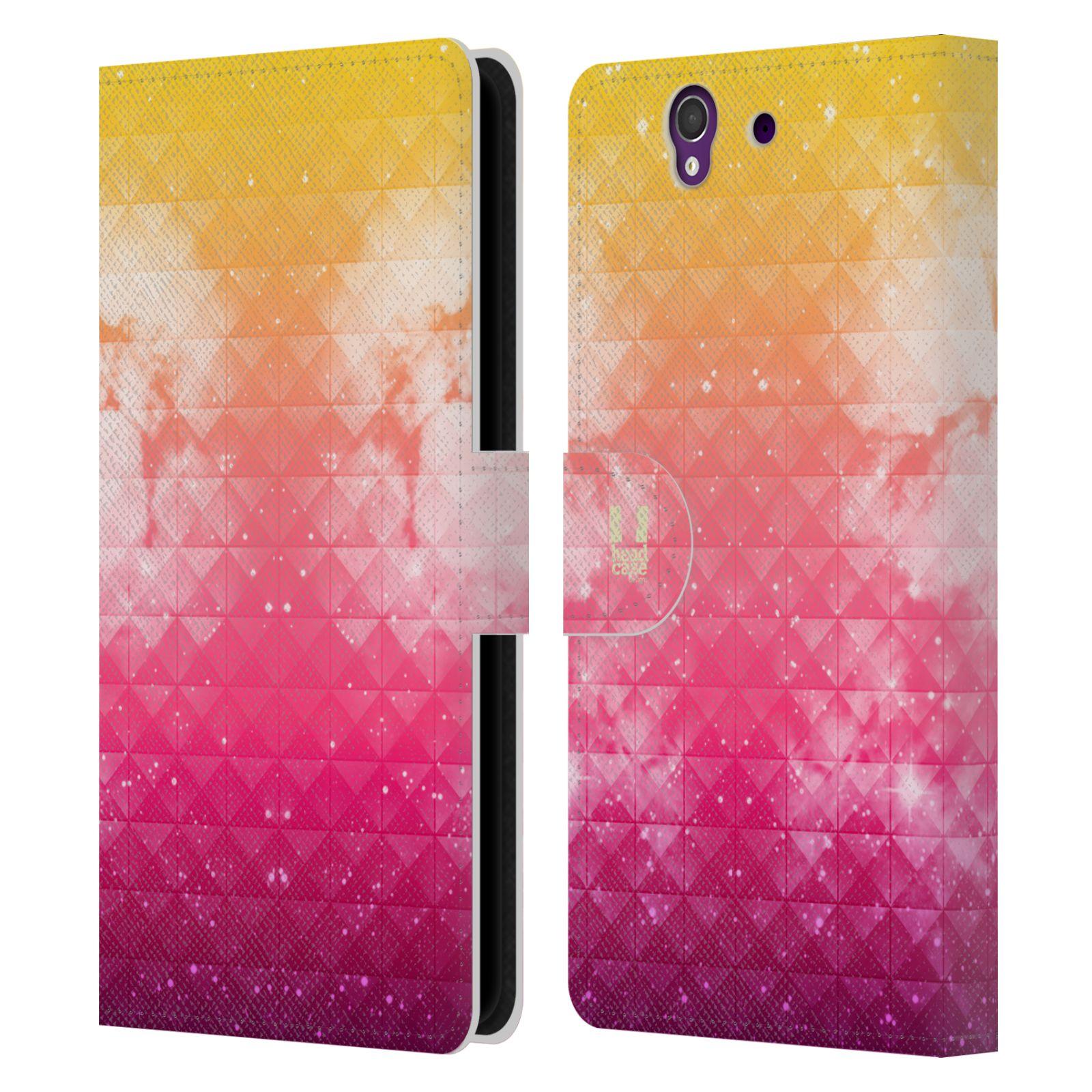 HEAD CASE Flipové pouzdro pro mobil SONY XPERIA Z (C6603) barevná vesmírná mlhovina oranžová a růžová