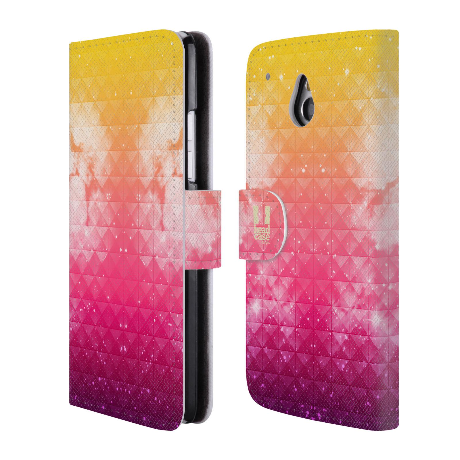 HEAD CASE Flipové pouzdro pro mobil HTC ONE MINI (M4) barevná vesmírná mlhovina oranžová a růžová