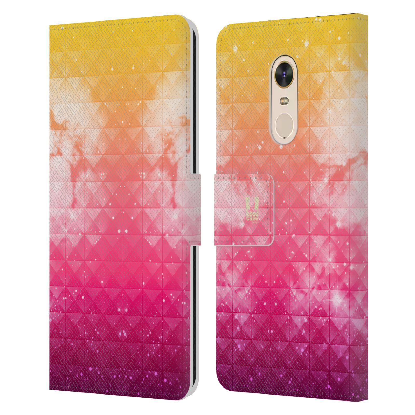 HEAD CASE Flipové pouzdro pro mobil Xiaomi Redmi Note 5 barevná vesmírná mlhovina oranžová a růžová