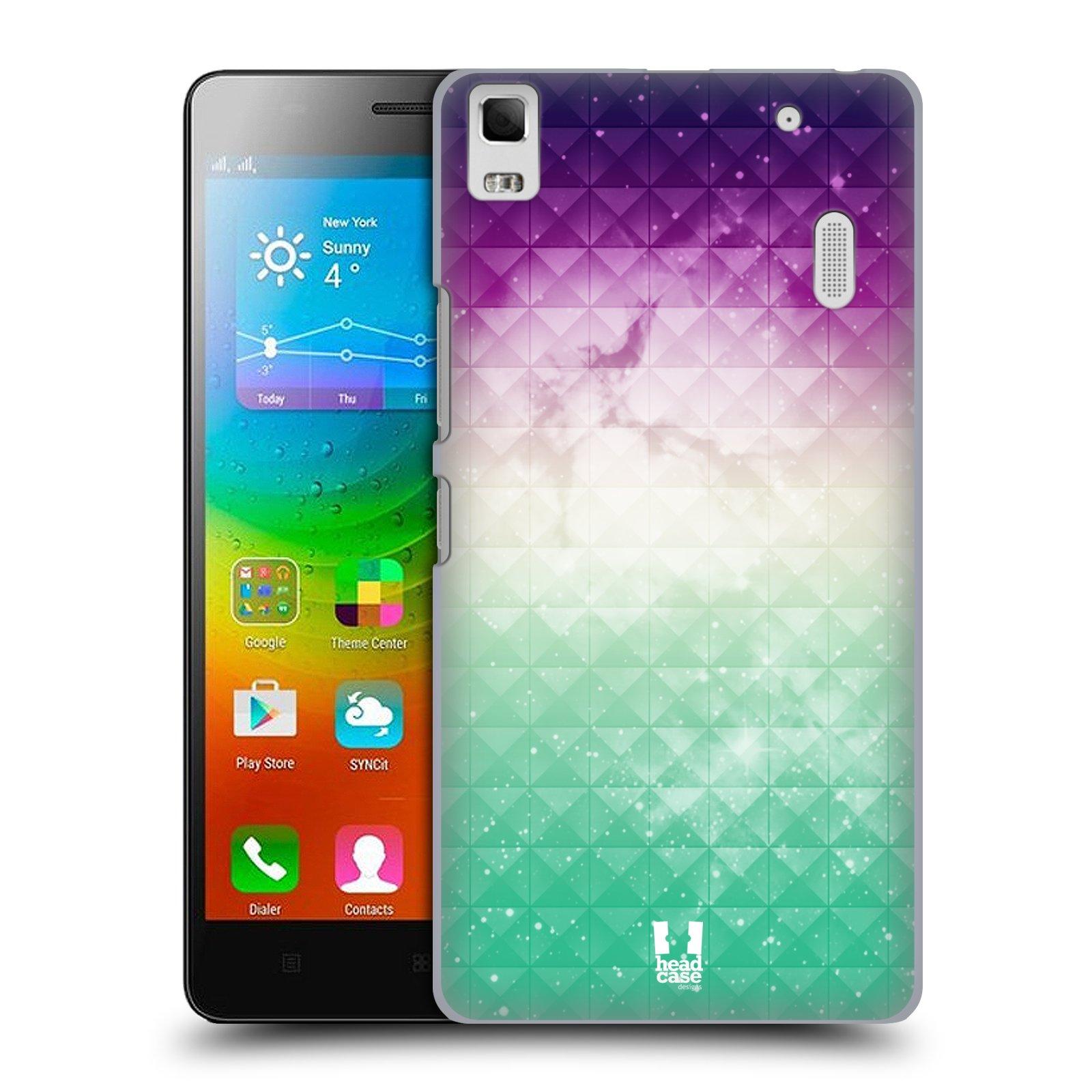 HEAD CASE pevný plastový obal na mobil LENOVO A7000 / A7000 DUAL / K3 NOTE vzor Hvězdná obloha hvězdy a slunce FIALOVÁ A ZELENÁ
