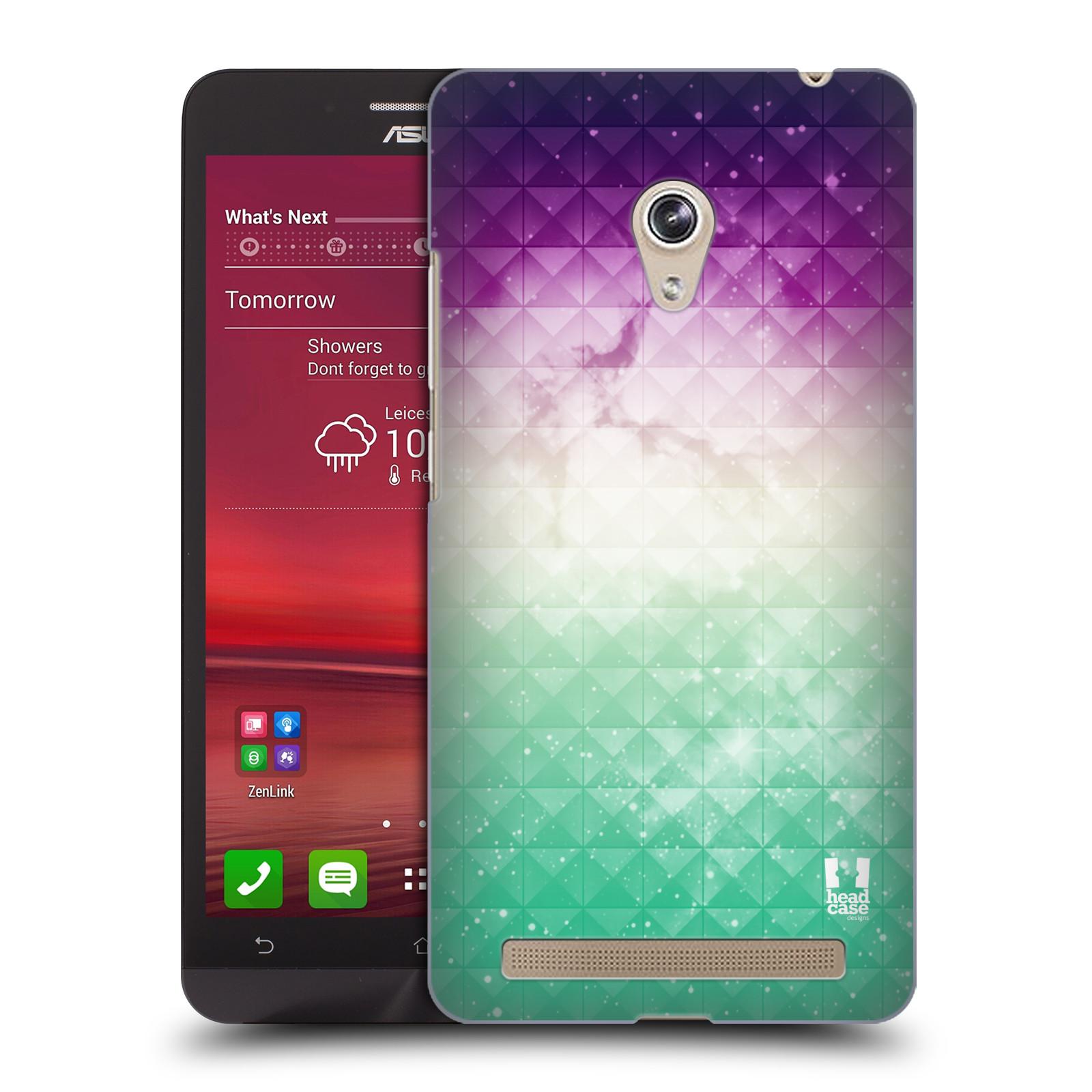 HEAD CASE plastový obal na mobil Asus Zenfone 6 vzor Hvězdná obloha hvězdy a slunce FIALOVÁ A ZELENÁ