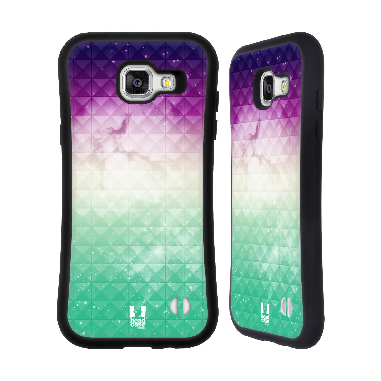 HEAD CASE silikon/plast odolný obal na mobil Samsung Galaxy A5 2016 vzor Hvězdná obloha hvězdy a slunce FIALOVÁ A ZELENÁ