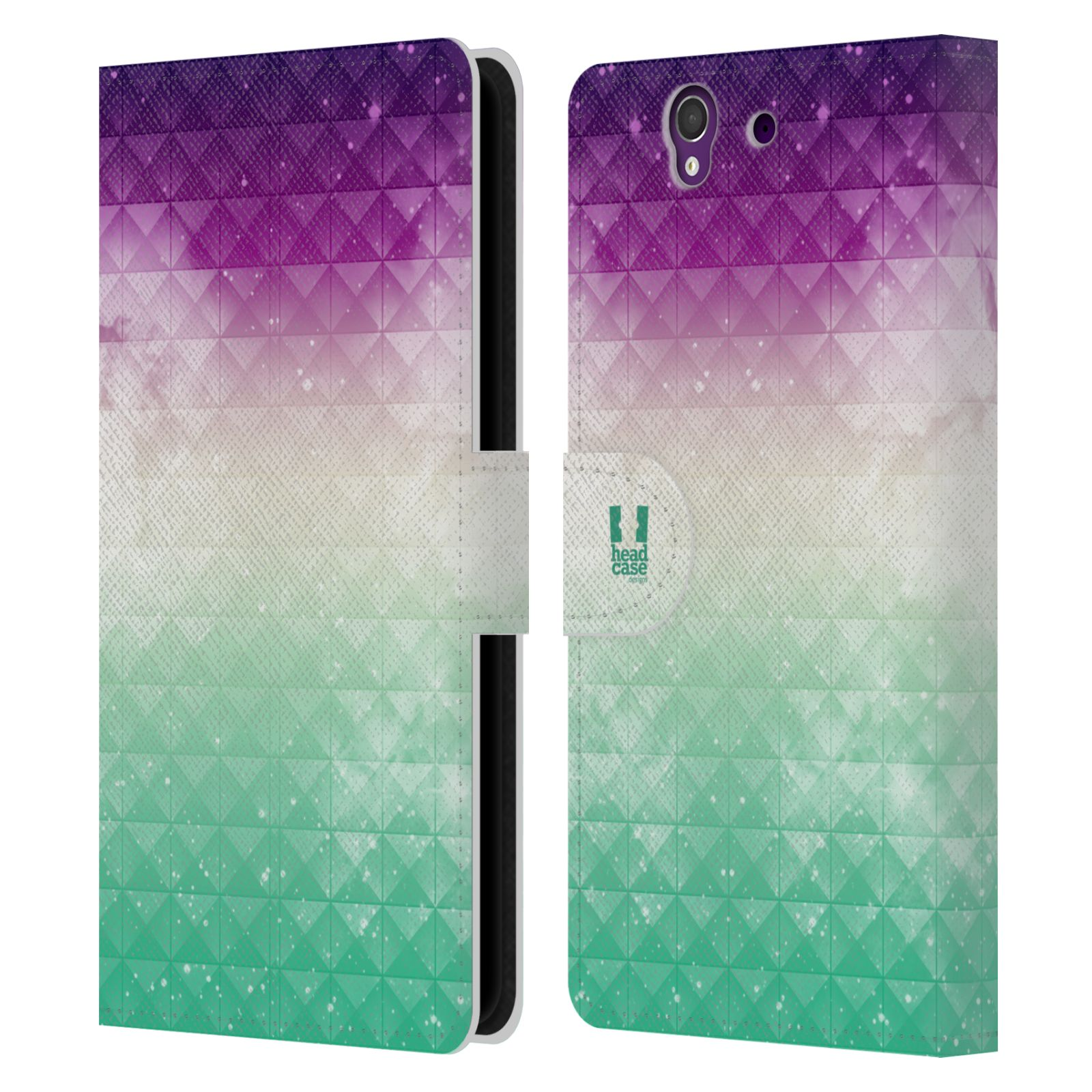 HEAD CASE Flipové pouzdro pro mobil SONY XPERIA Z (C6603) barevná vesmírná mlhovina fialová a zelená