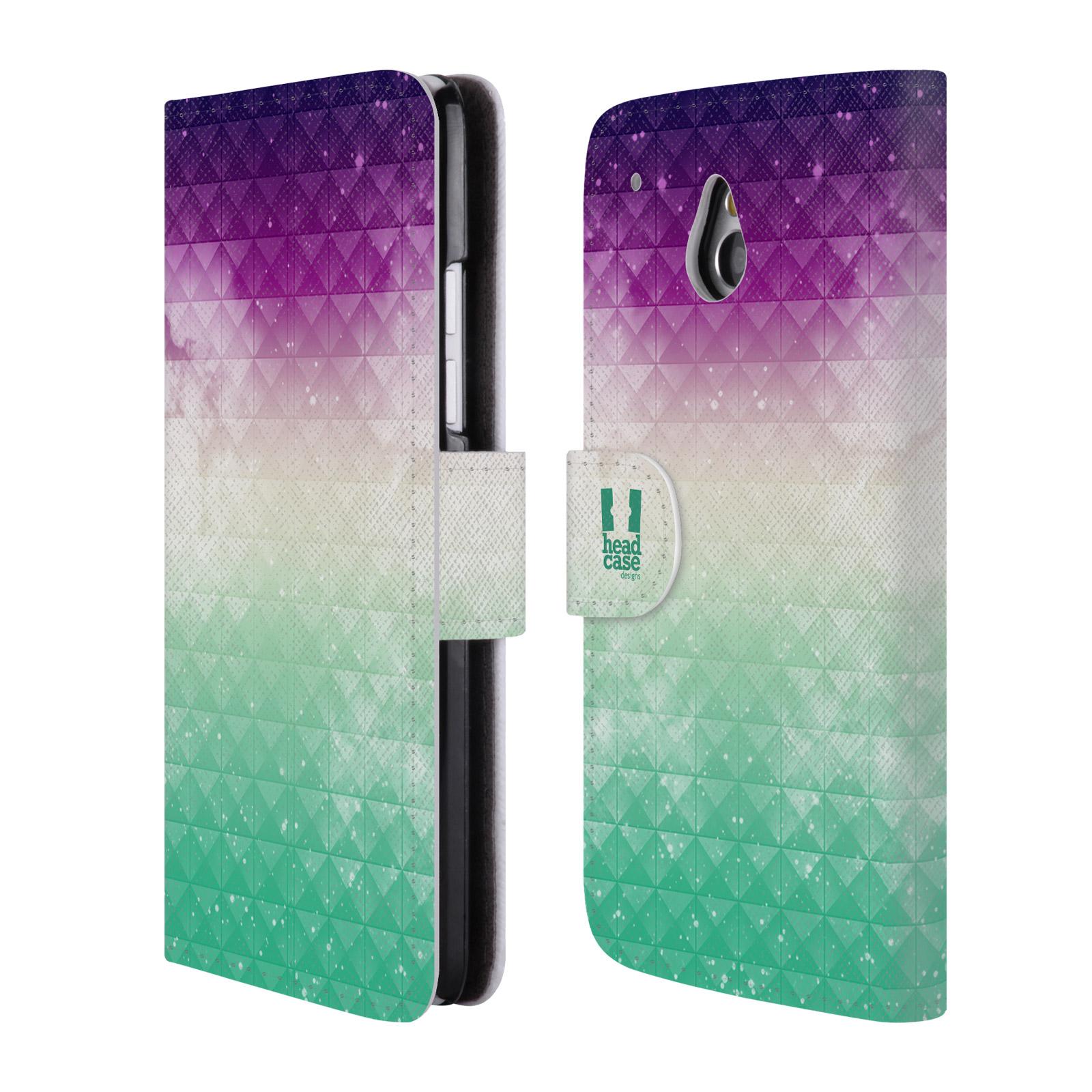 HEAD CASE Flipové pouzdro pro mobil HTC ONE MINI (M4) barevná vesmírná mlhovina fialová a zelená
