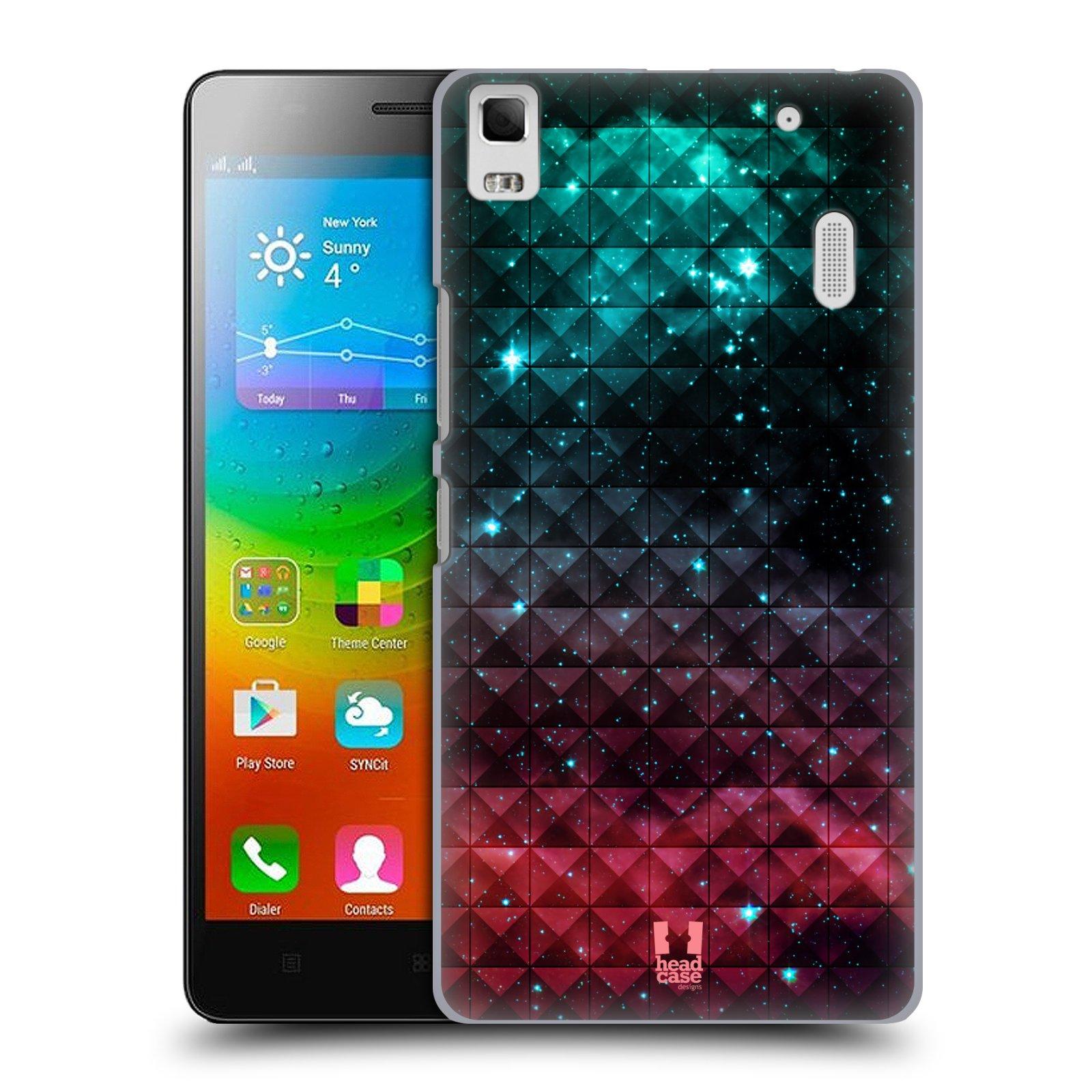 HEAD CASE pevný plastový obal na mobil LENOVO A7000 / A7000 DUAL / K3 NOTE vzor Hvězdná obloha hvězdy a slunce RUDÁ A MODRÁ