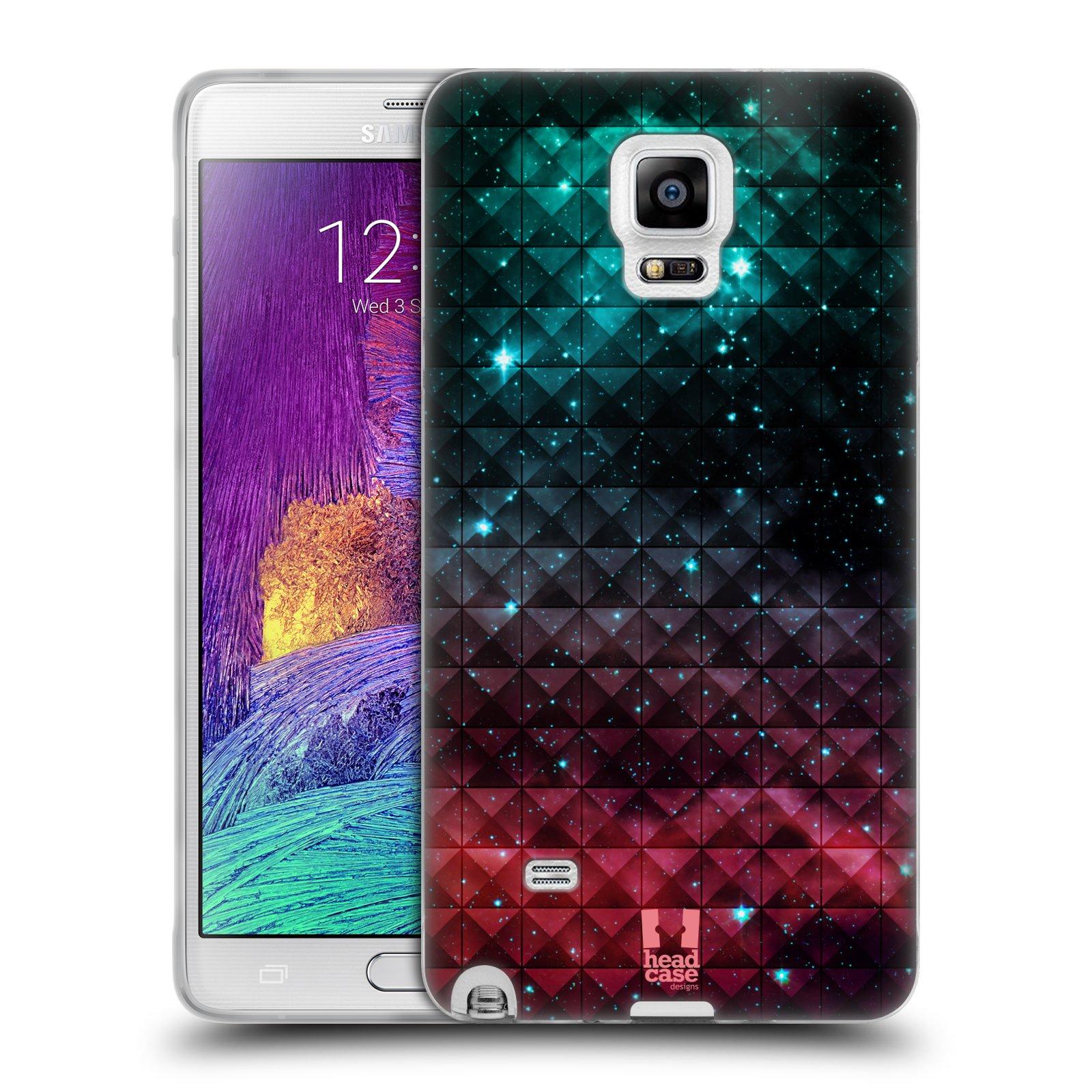 HEAD CASE silikonový obal na mobil Samsung Galaxy Note 4 (N910) vzor Hvězdná obloha hvězdy a slunce RUDÁ A MODRÁ