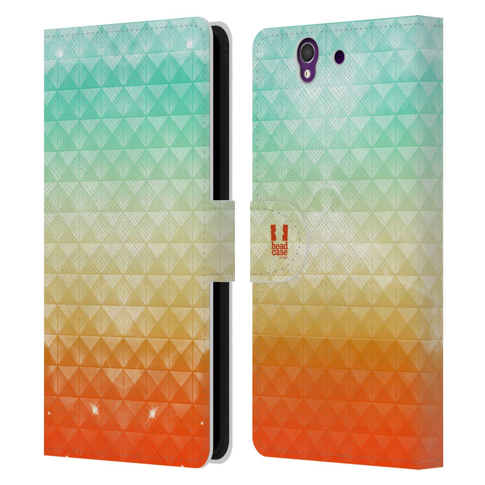HEAD CASE Flipové pouzdro pro mobil SONY XPERIA Z (C6603) barevná vesmírná mlhovina oranžová a tyrkysová