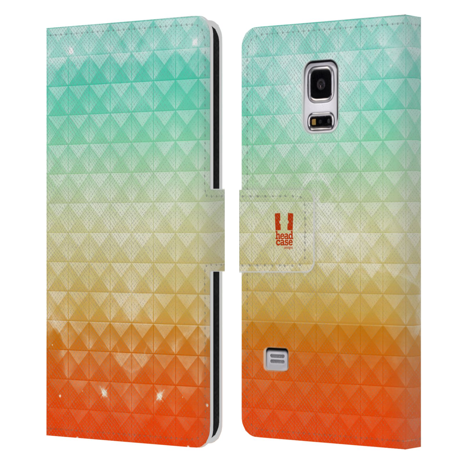 HEAD CASE Flipové pouzdro pro mobil Samsung Galaxy S5 MINI / S5 MINI DUOS barevná vesmírná mlhovina oranžová a tyrkysová
