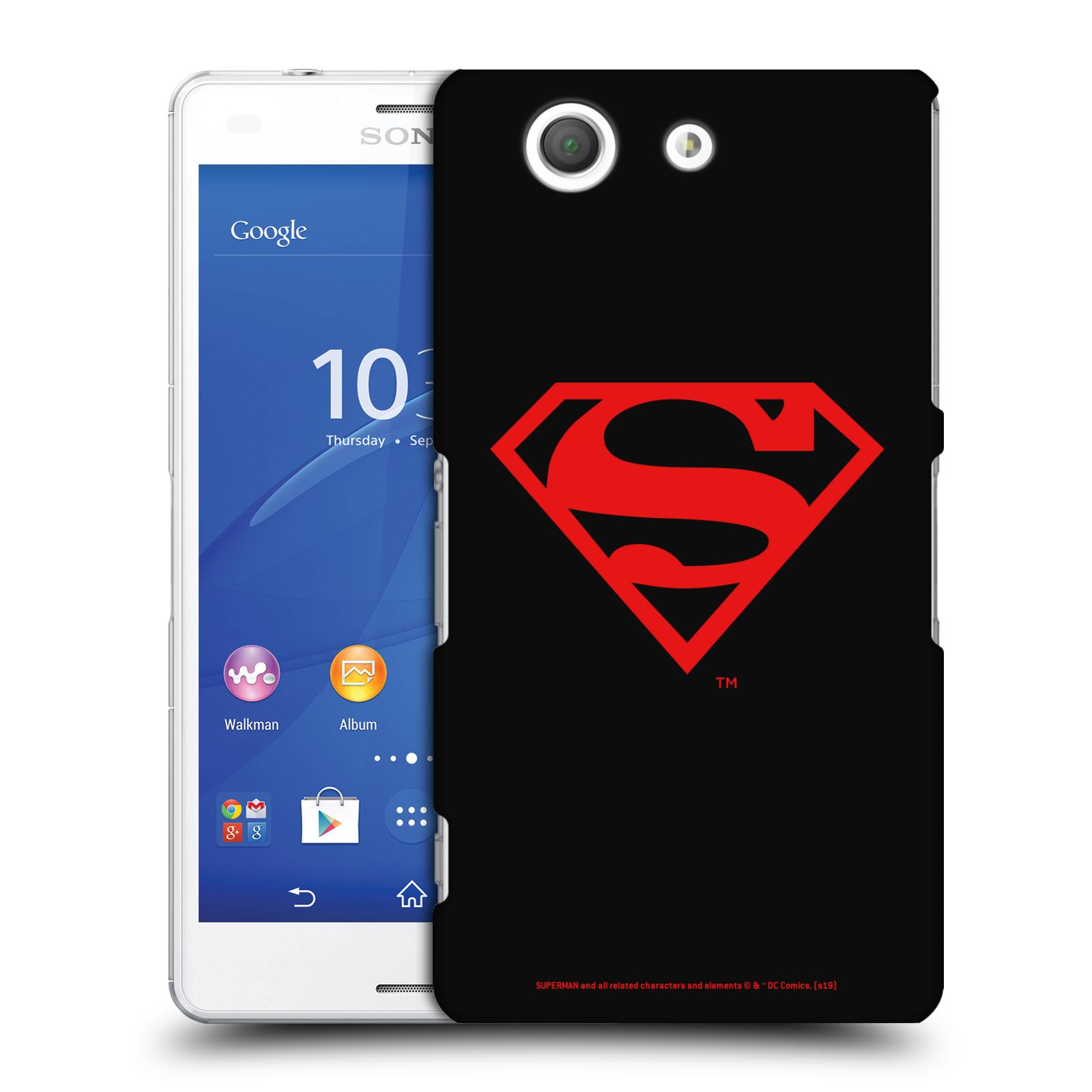 Pouzdro na mobil Sony Xperia Z3 COMPACT - HEAD CASE - DC komix Superman červený znak černé pozadí