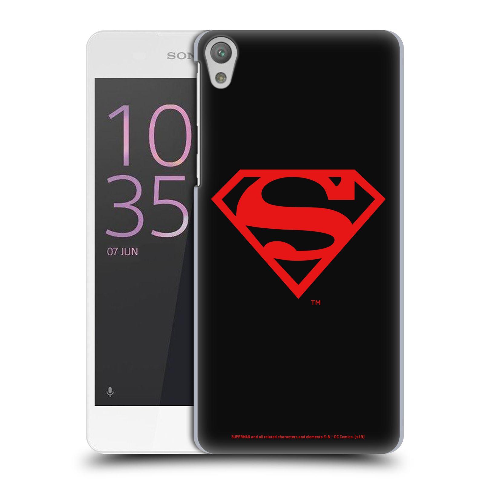 Pouzdro na mobil Sony Xperia E5 - HEAD CASE - DC komix Superman červený znak černé pozadí
