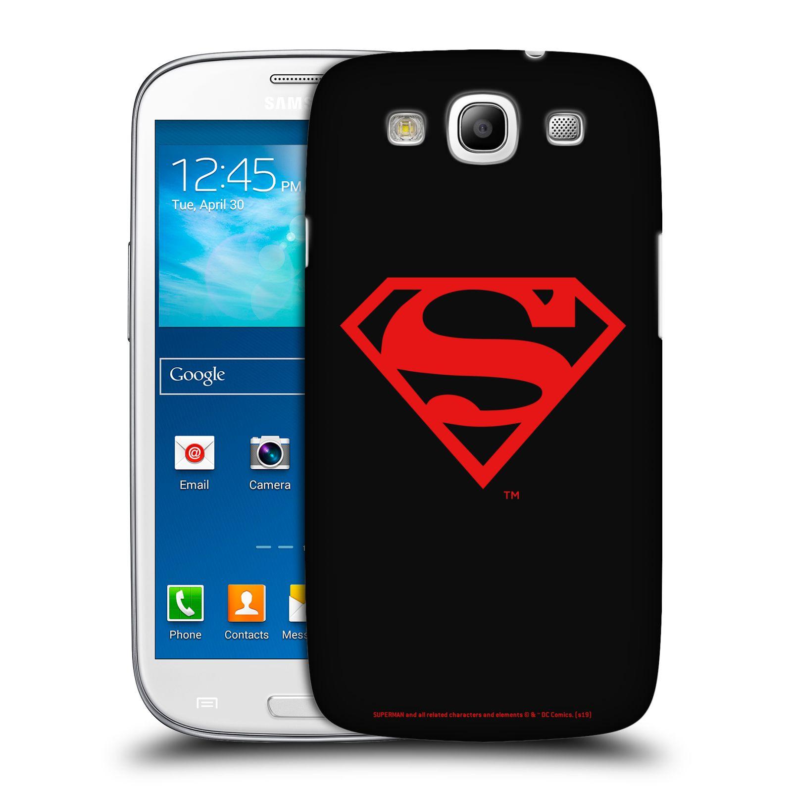 Pouzdro na mobil Samsung Galaxy S3 - HEAD CASE - DC komix Superman červený znak černé pozadí