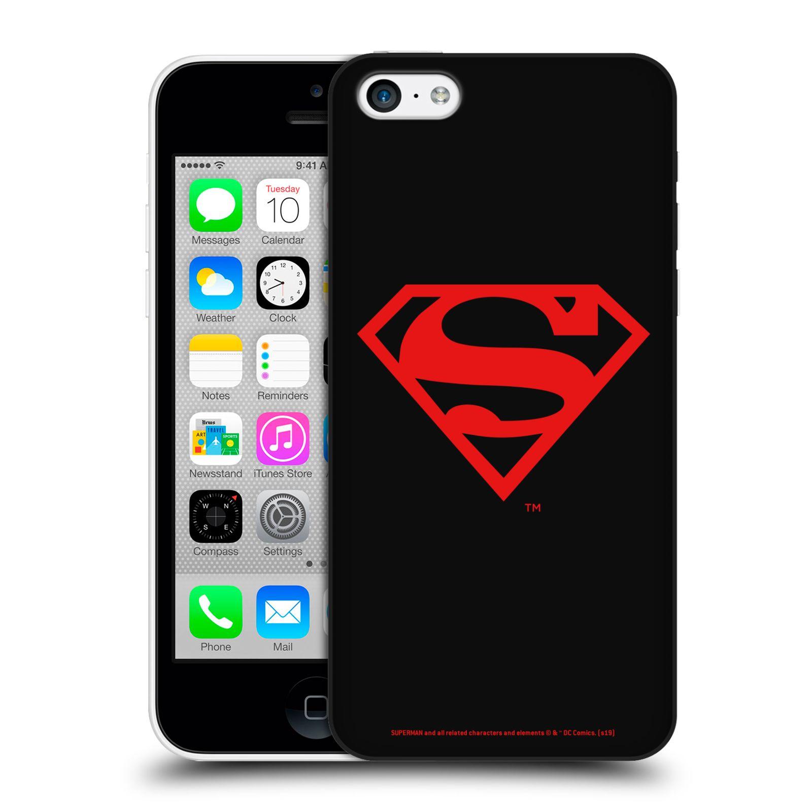 Pouzdro na mobil Apple Iphone 5C - HEAD CASE - DC komix Superman červený znak černé pozadí