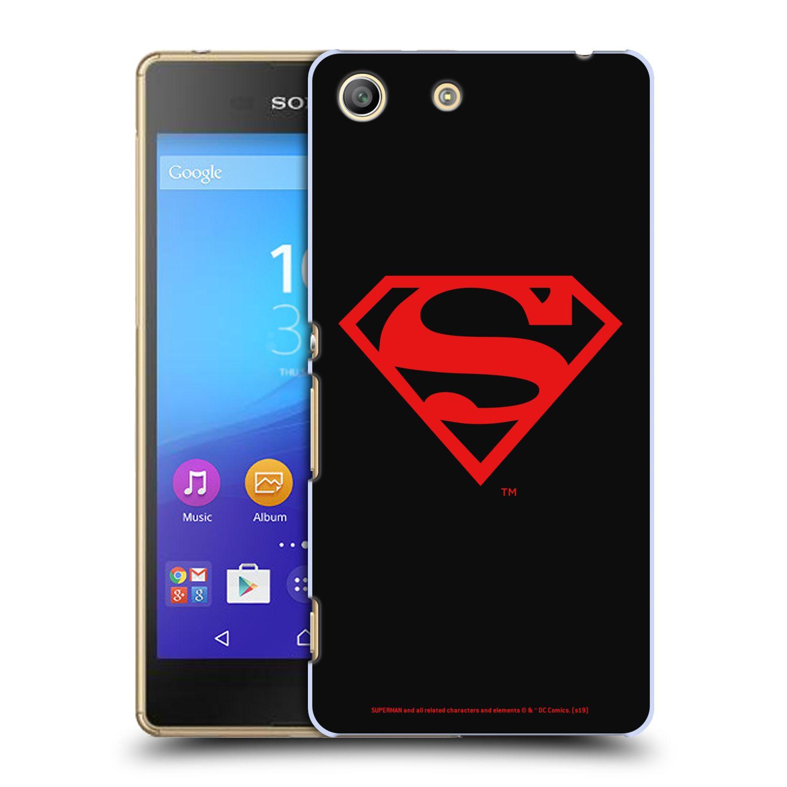 Pouzdro na mobil Sony Xperia M5 - HEAD CASE - DC komix Superman červený znak černé pozadí