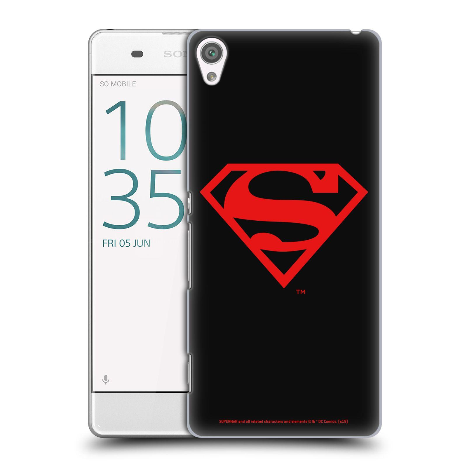 Pouzdro na mobil Sony Xperia XA - HEAD CASE - DC komix Superman červený znak černé pozadí