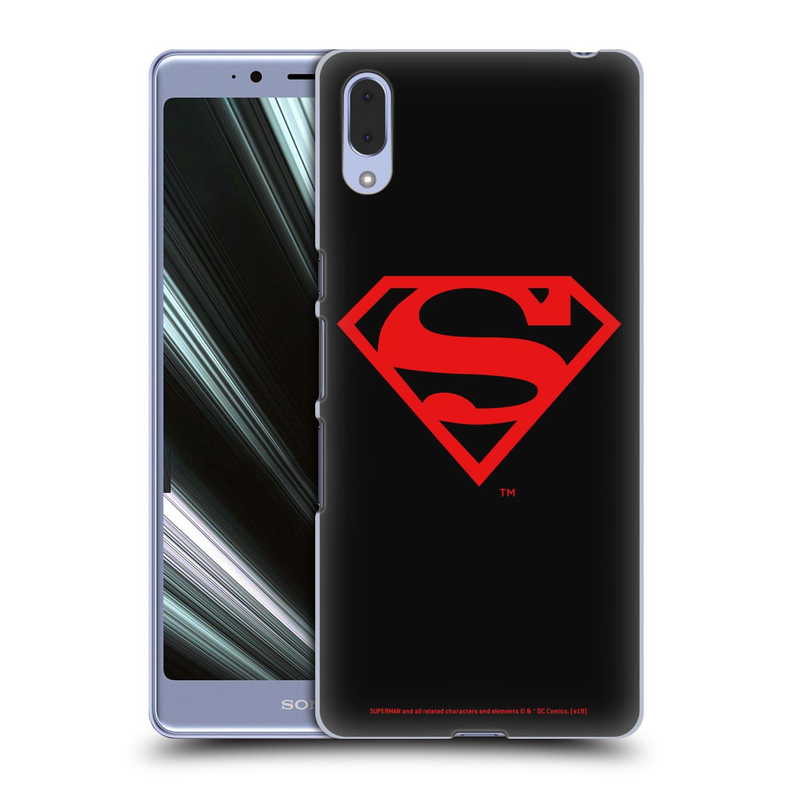 Pouzdro na mobil Sony Xperia L3 - HEAD CASE - DC komix Superman červený znak černé pozadí