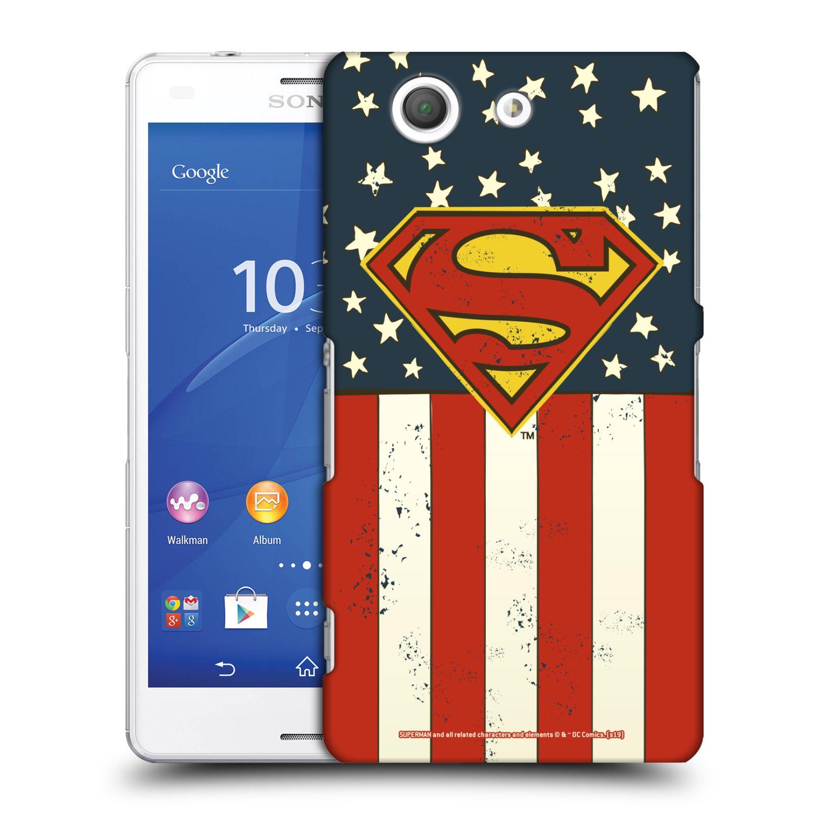 Pouzdro na mobil Sony Xperia Z3 COMPACT - HEAD CASE - DC komix Superman Americká vlajka