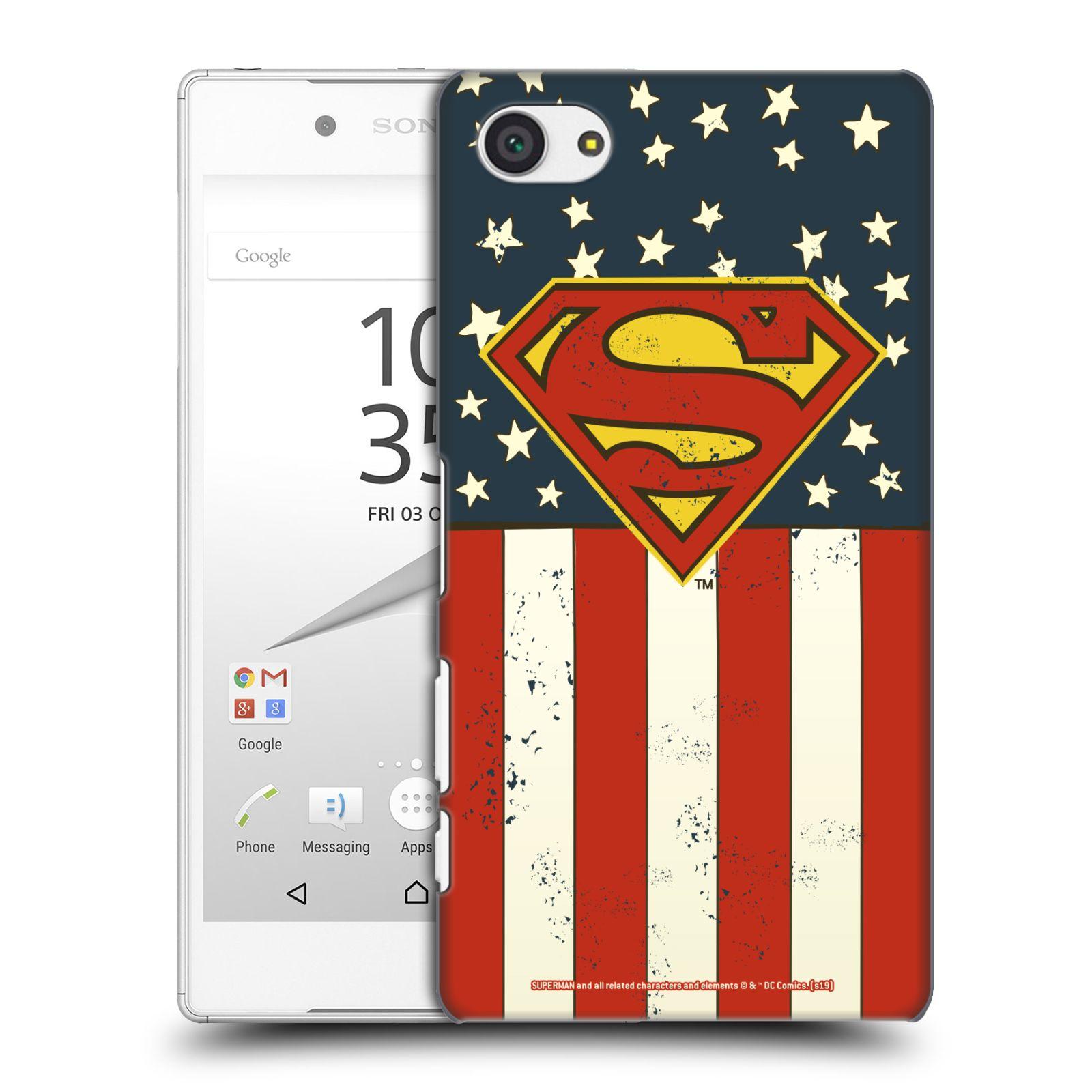 Pouzdro na mobil Sony Xperia Z5 COMPACT - HEAD CASE - DC komix Superman Americká vlajka