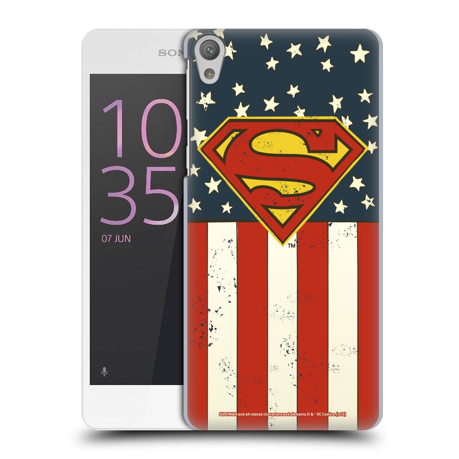 Pouzdro na mobil Sony Xperia E5 - HEAD CASE - DC komix Superman Americká vlajka