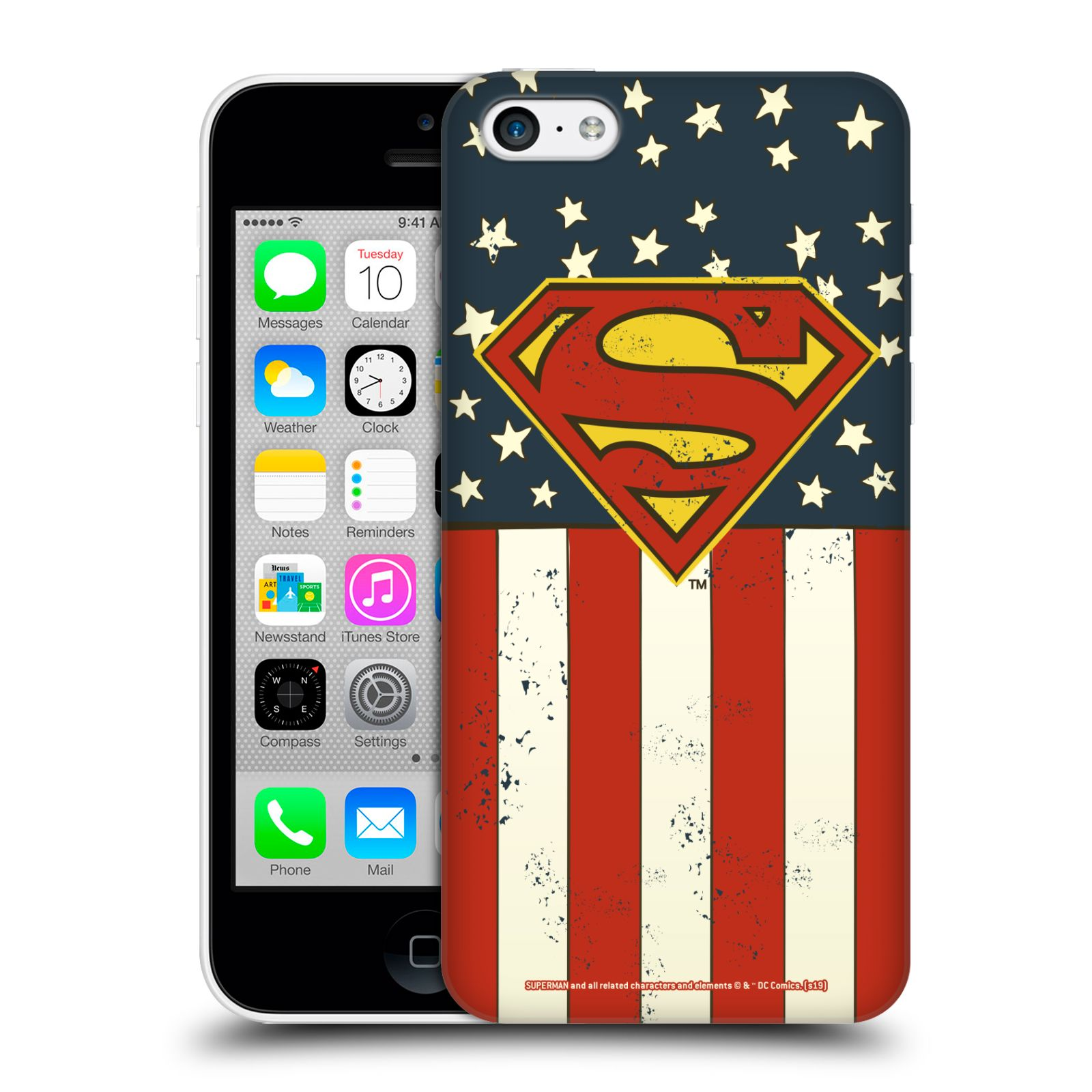 Pouzdro na mobil Apple Iphone 5C - HEAD CASE - DC komix Superman Americká vlajka