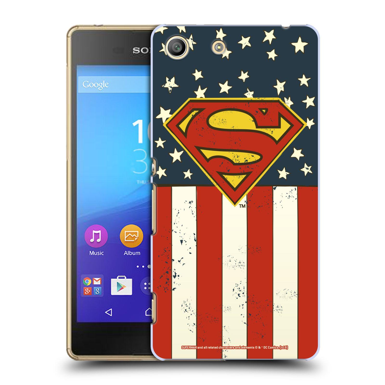 Pouzdro na mobil Sony Xperia M5 - HEAD CASE - DC komix Superman Americká vlajka