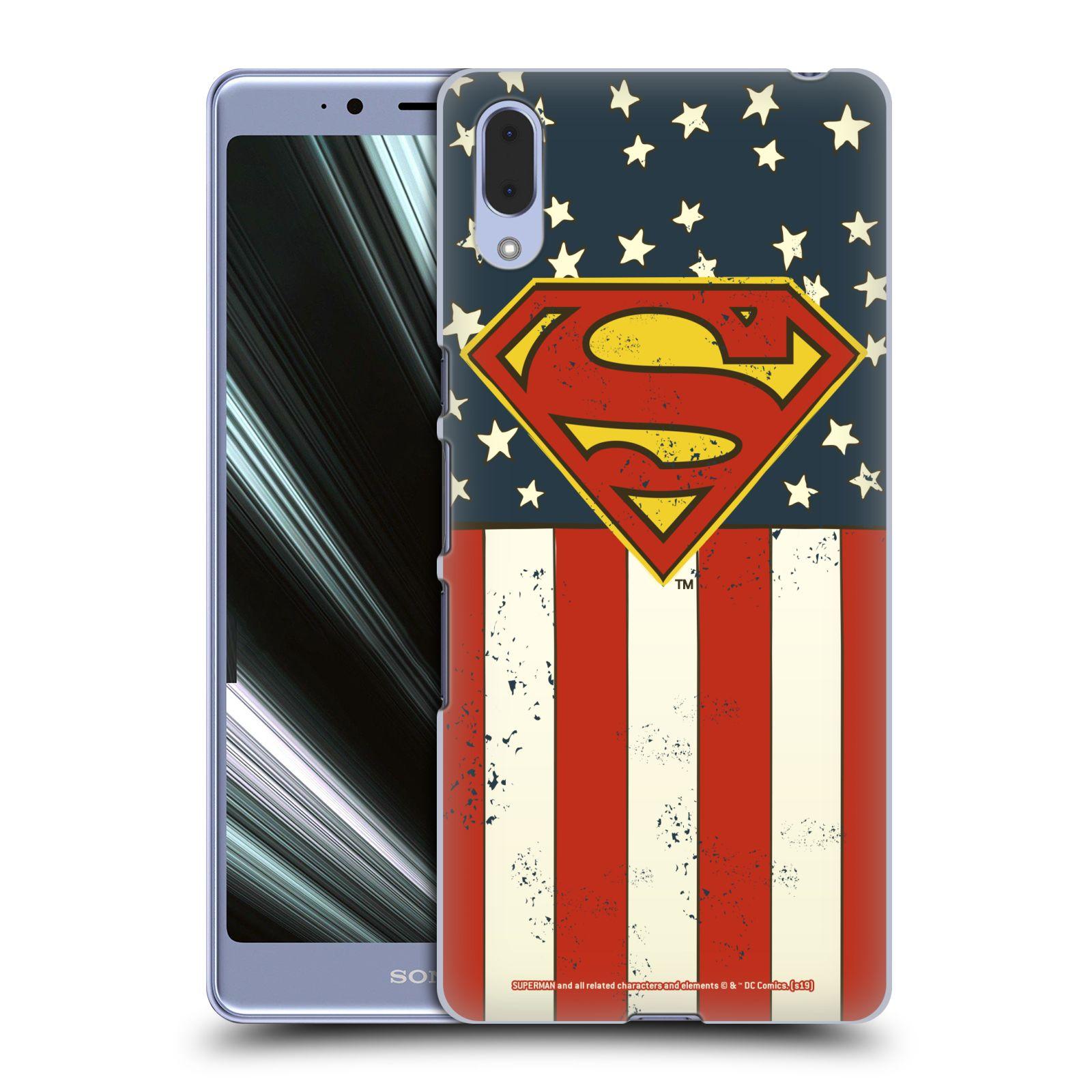 Pouzdro na mobil Sony Xperia L3 - HEAD CASE - DC komix Superman Americká vlajka
