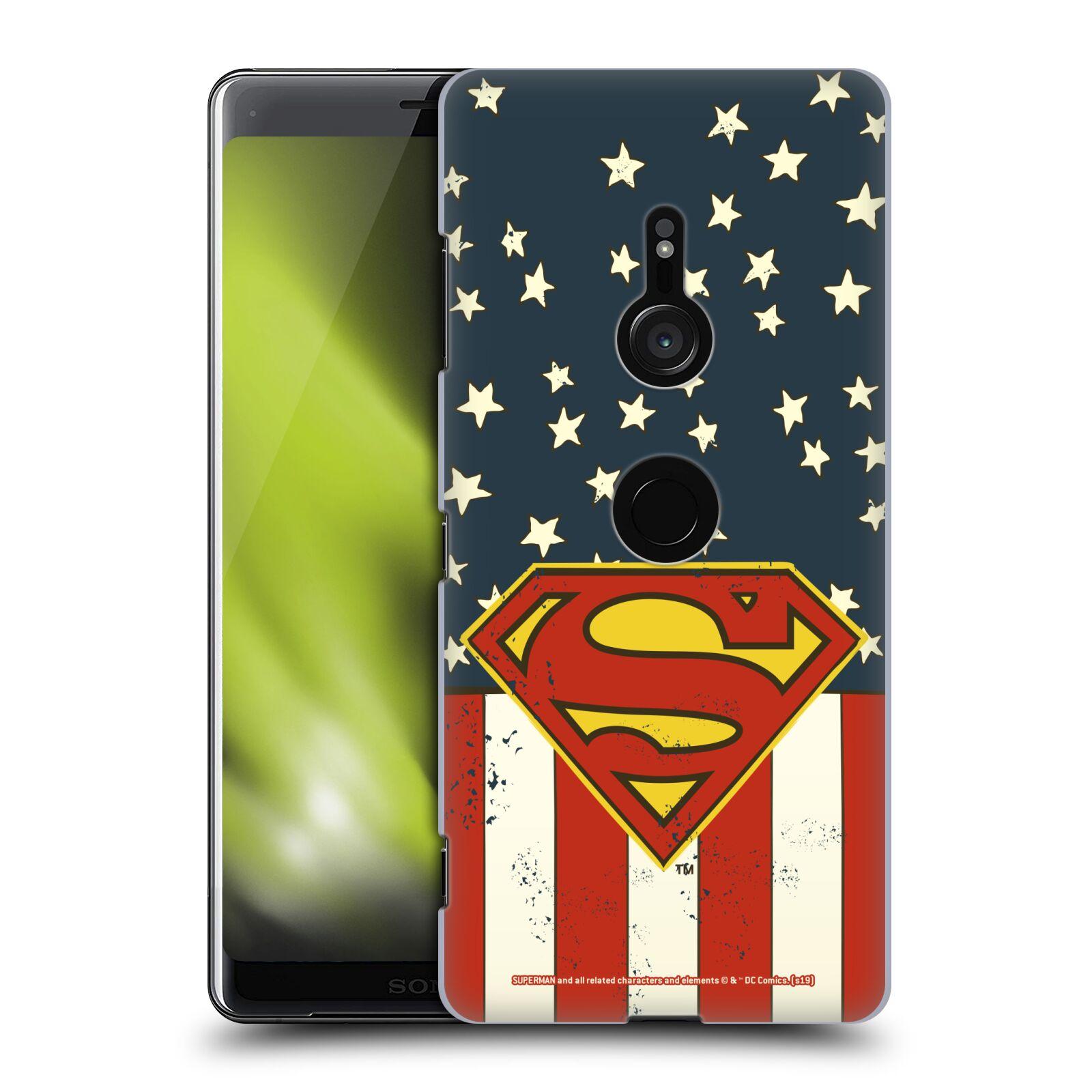 Pouzdro na mobil Sony Xperia XZ3 - HEAD CASE - DC komix Superman Americká vlajka