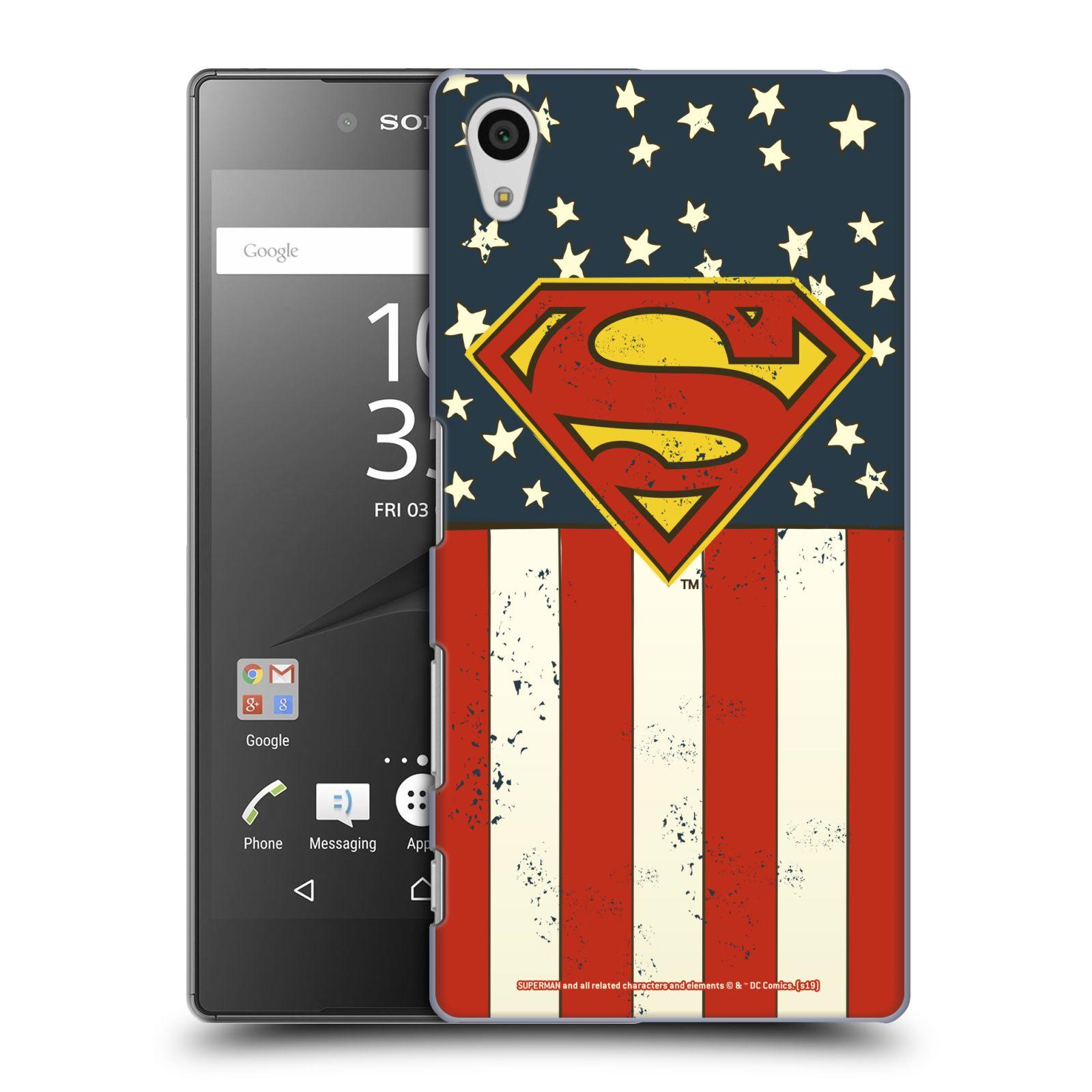 Pouzdro na mobil Sony Xperia Z5 - HEAD CASE - DC komix Superman Americká vlajka