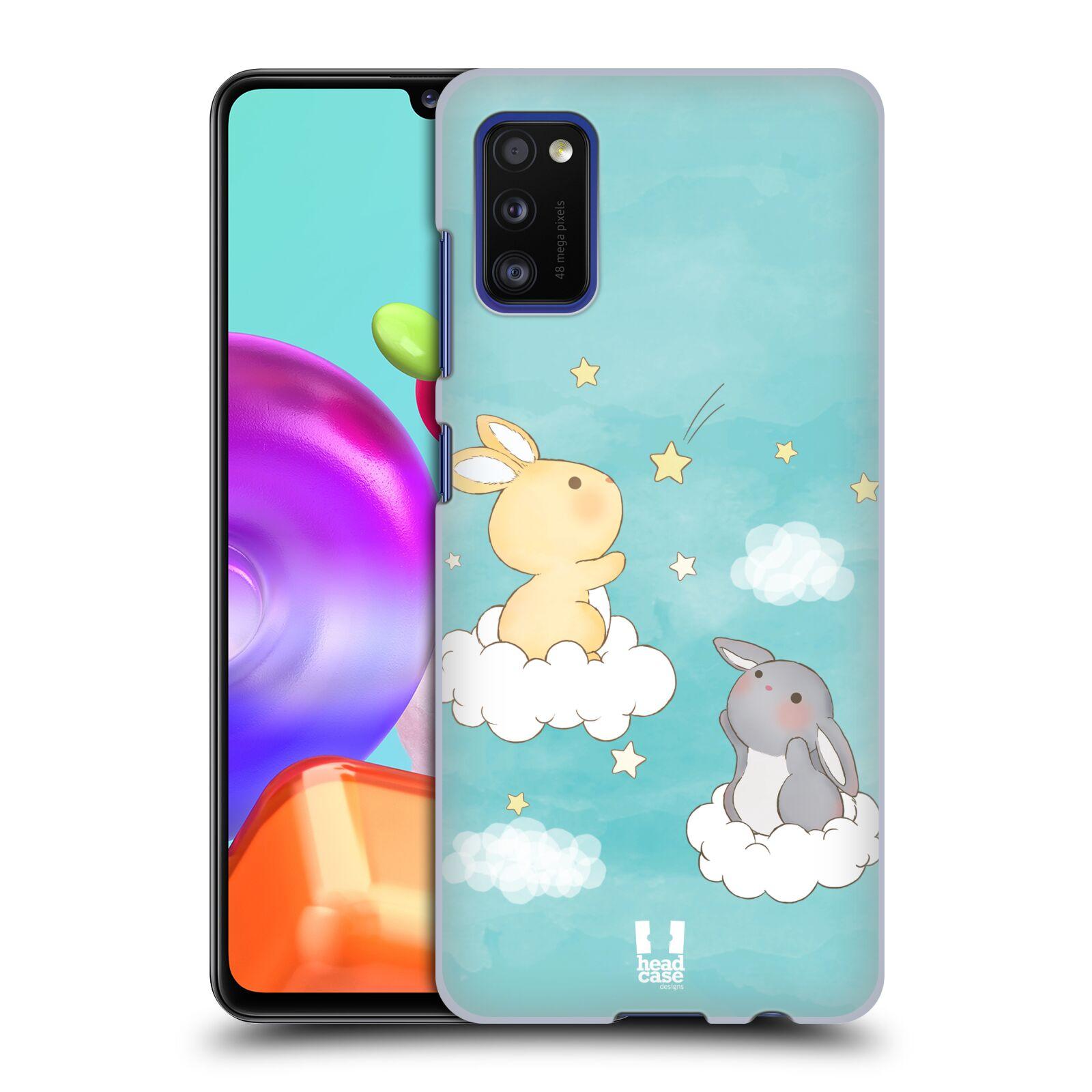 Zadní kryt na mobil Samsung Galaxy A41 vzor králíček a hvězdy modrá