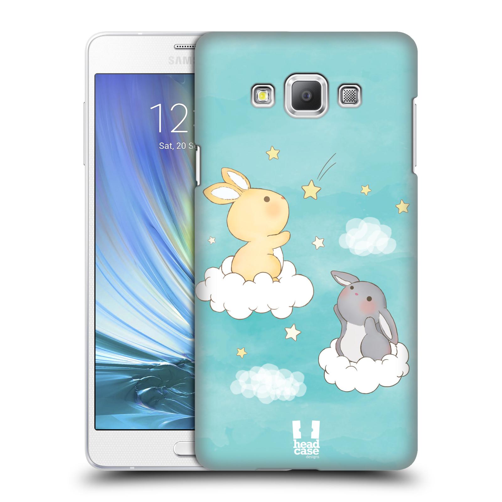 HEAD CASE plastový obal na mobil SAMSUNG GALAXY A7 vzor králíček a hvězdy modrá