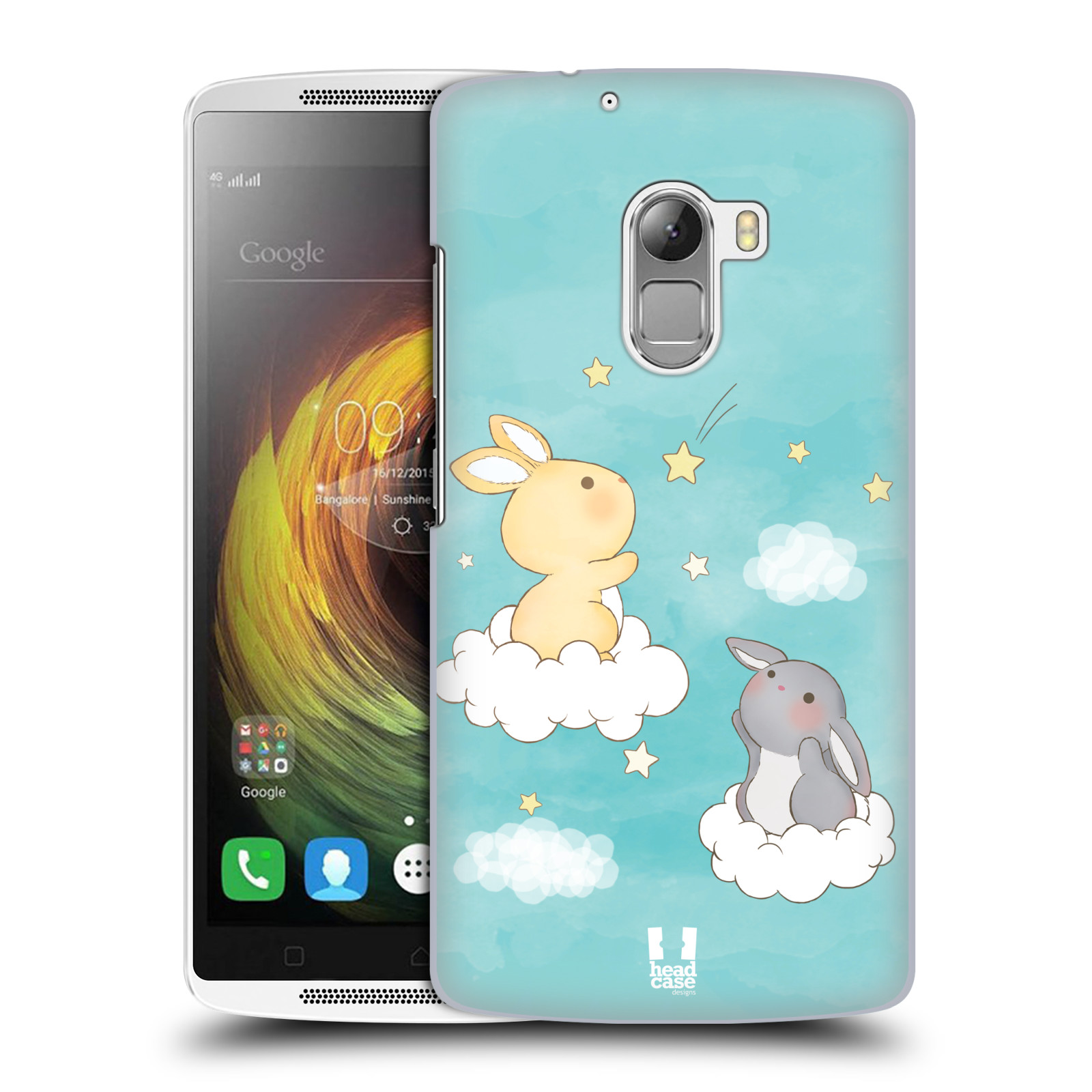 HEAD CASE pevný plastový obal na mobil LENOVO A7010 / A7010 DUAL / K4 Note / Vibe X3 lite vzor králíček a hvězdy modrá