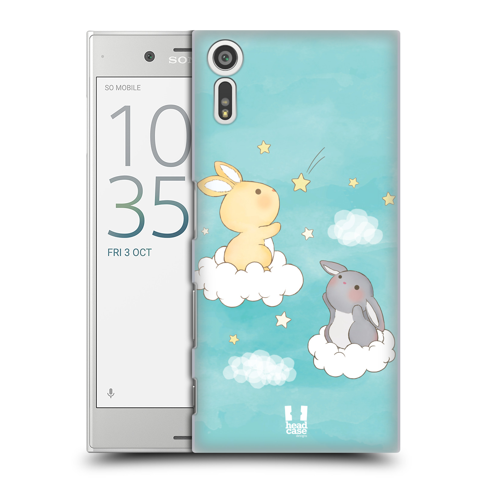 HEAD CASE plastový obal na mobil Sony Xperia XZ vzor králíček a hvězdy modrá