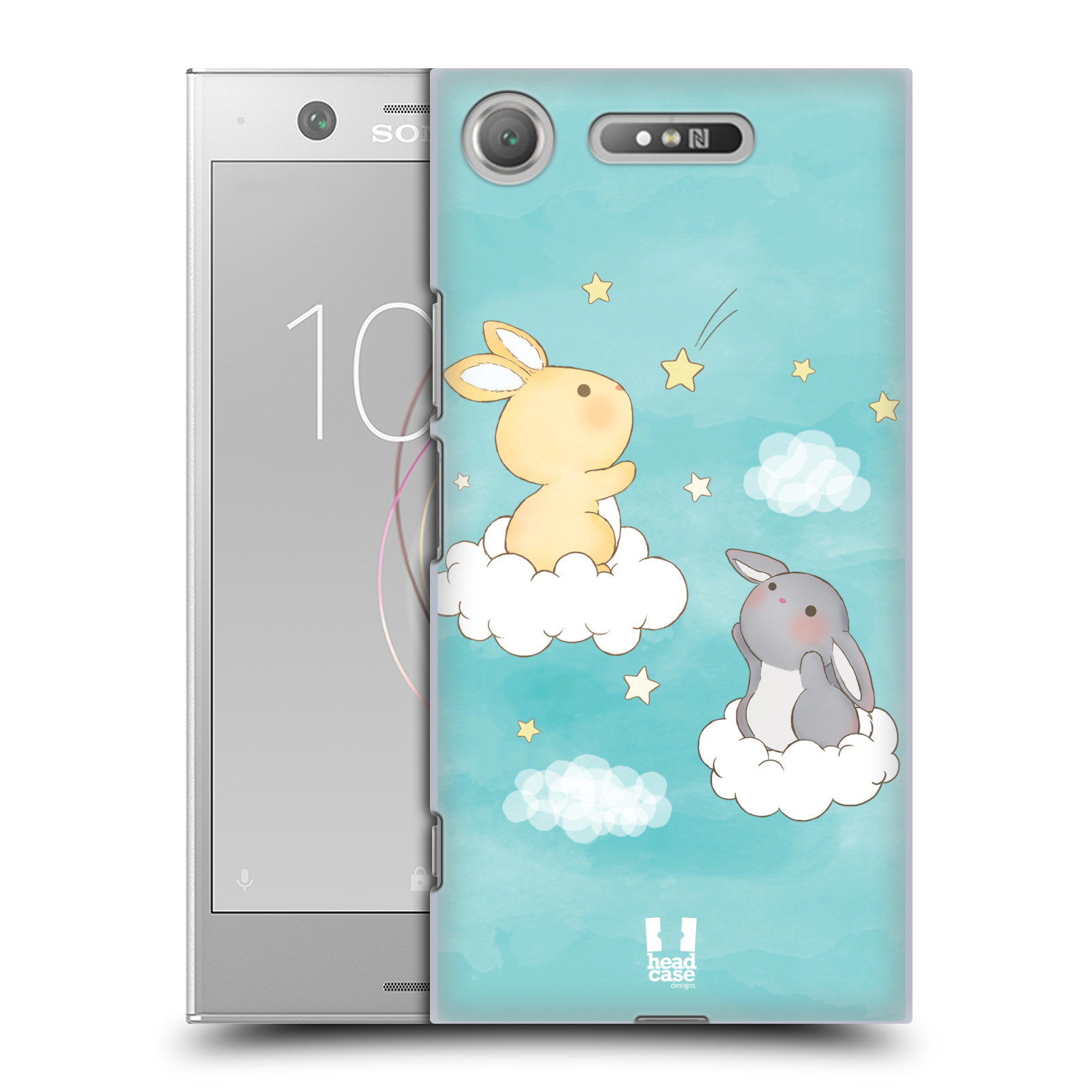 HEAD CASE plastový obal na mobil Sony Xperia XZ1 vzor králíček a hvězdy modrá