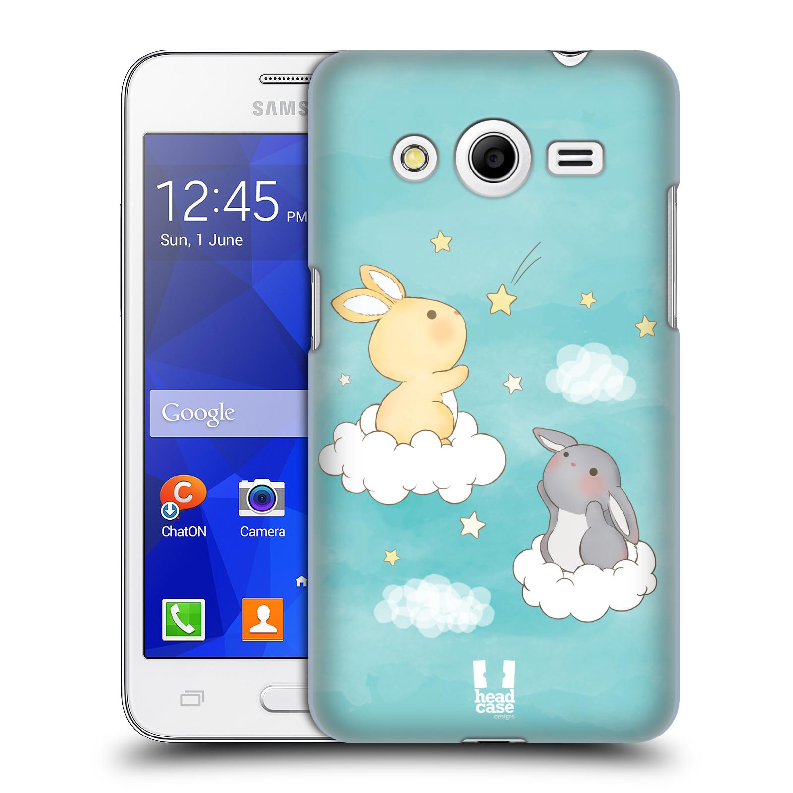 HEAD CASE plastový obal na mobil SAMSUNG GALAXY Core 2 (G355H) vzor králíček a hvězdy modrá