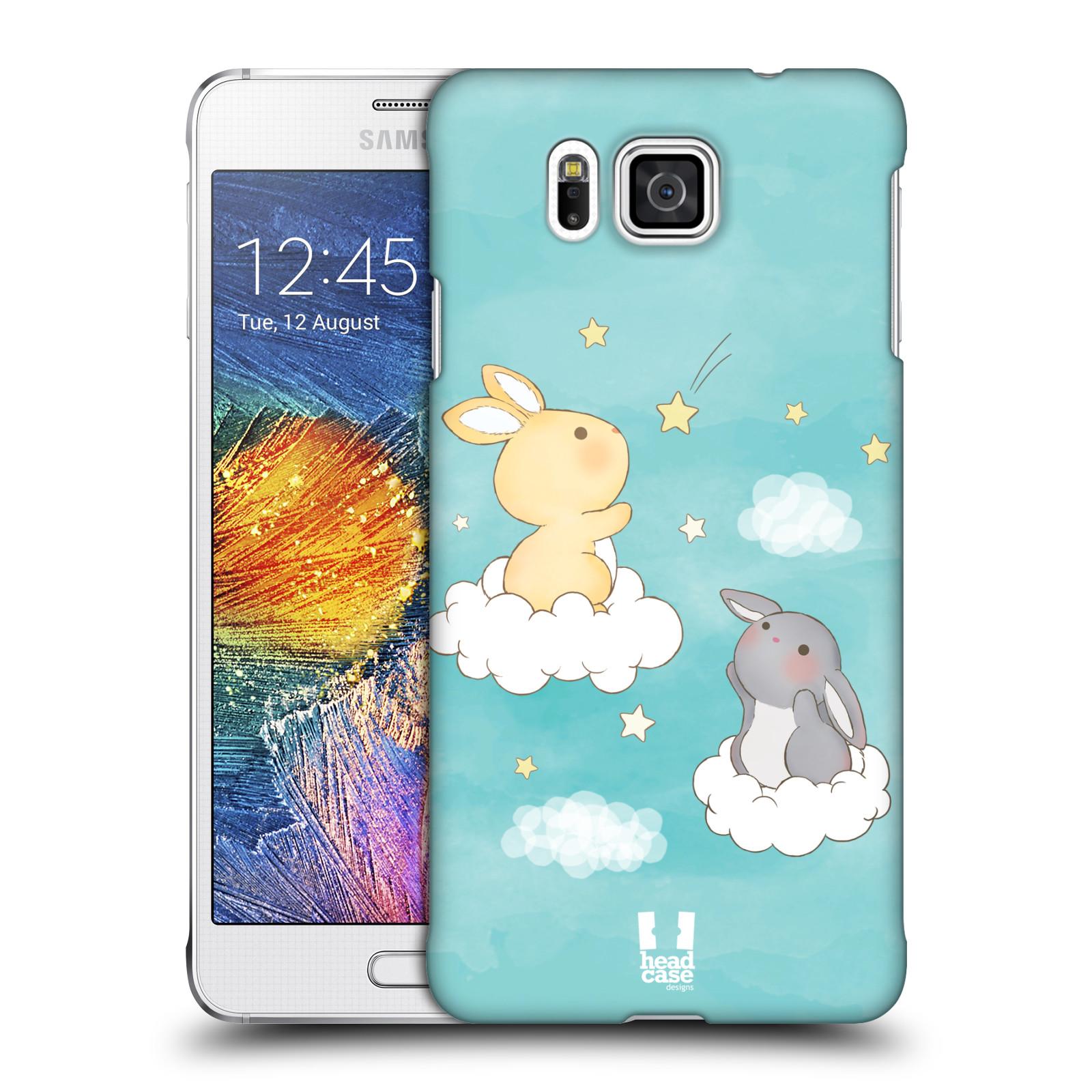 HEAD CASE plastový obal na mobil SAMSUNG Galaxy Alpha (G850) vzor králíček a hvězdy modrá