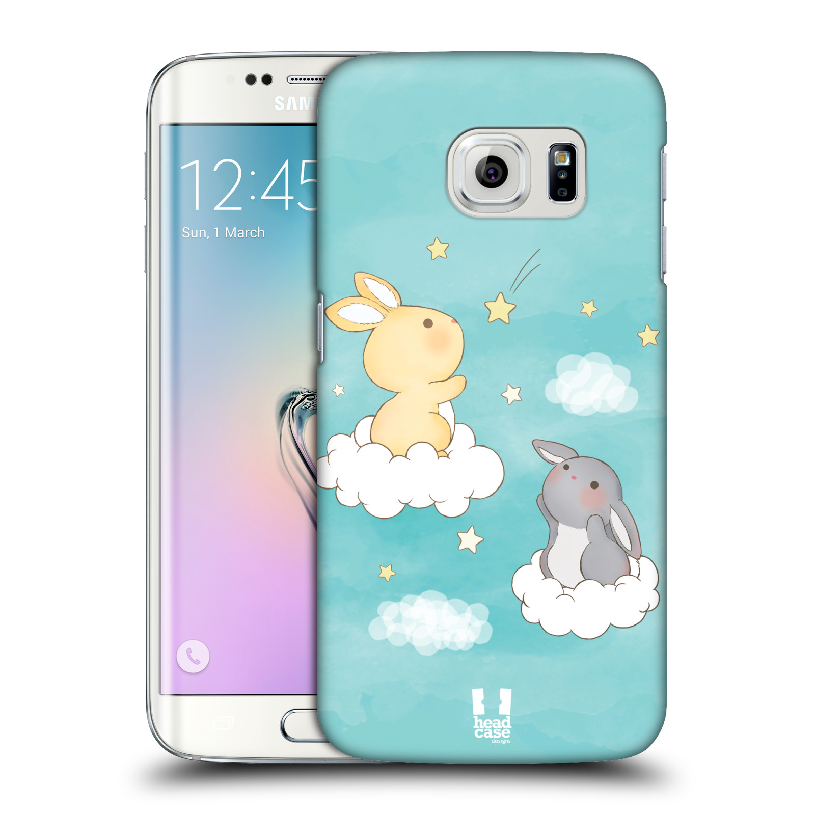 HEAD CASE plastový obal na mobil SAMSUNG Galaxy S6 EDGE (G9250, G925, G925F) vzor králíček a hvězdy modrá